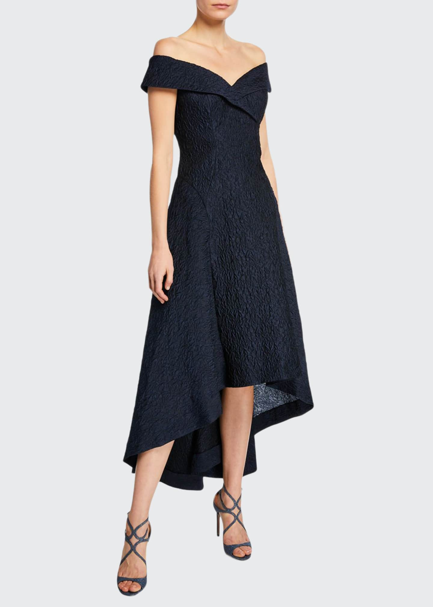 Image 1 of 2: Taffeta Off-the-Shoulder High-Low Cocktail Dress