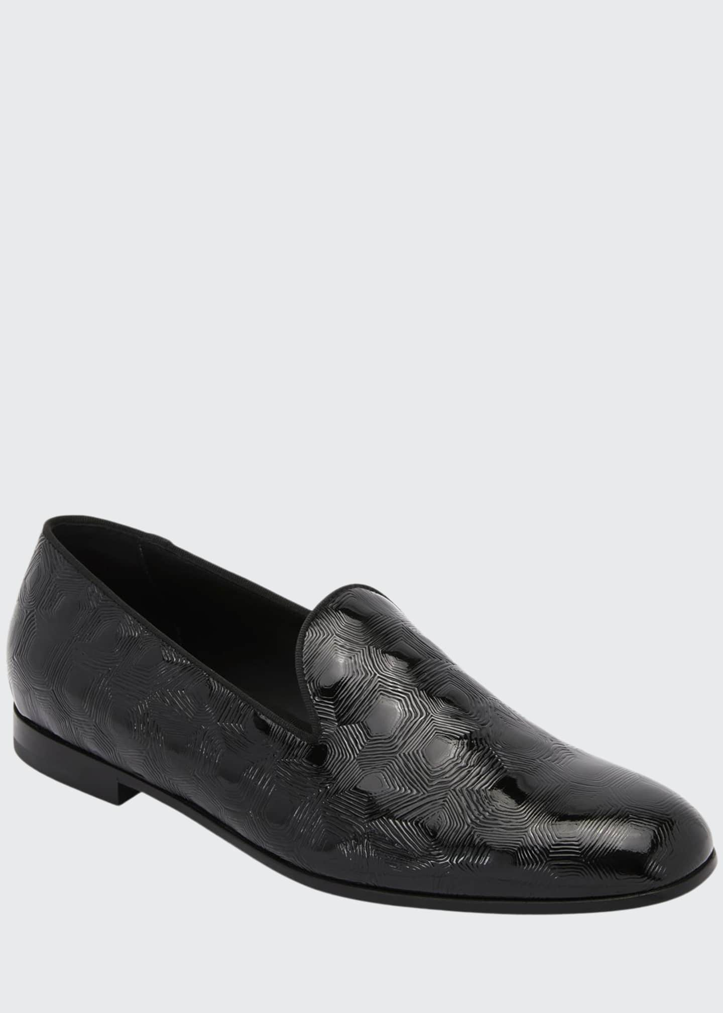 Image 1 of 3: Textured Patent Leather Slip-On Loafer