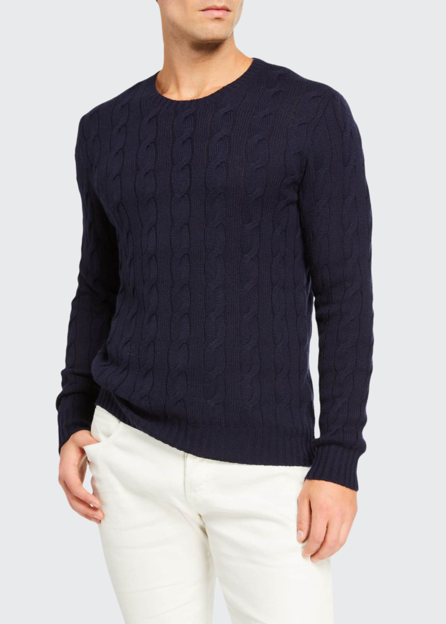 Image 1 of 2: Cashmere Cable-Knit Crewneck Sweater, Navy