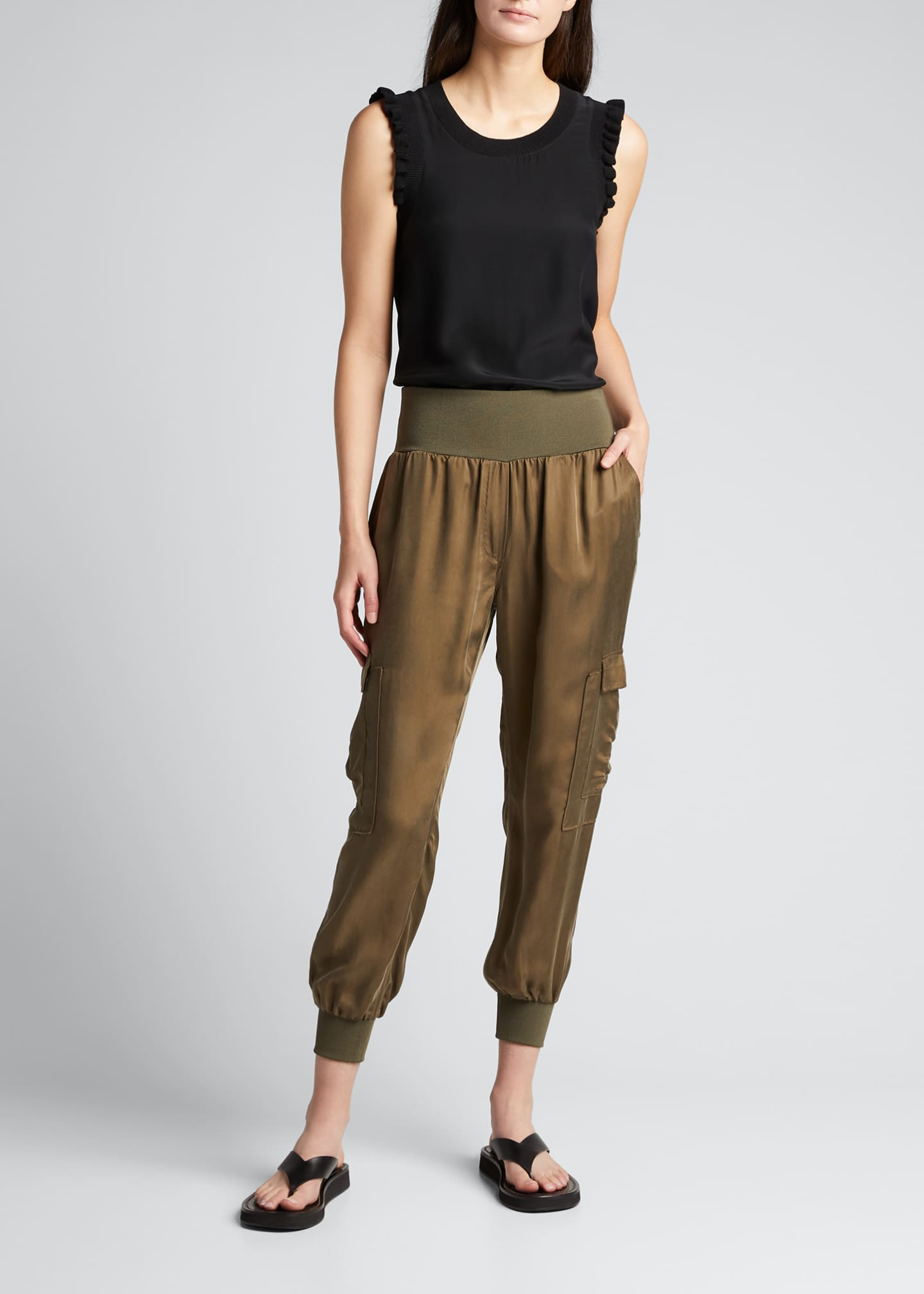 Image 1 of 3: Tous Les Jours Lenore Crewneck Sleeveless Silk Top