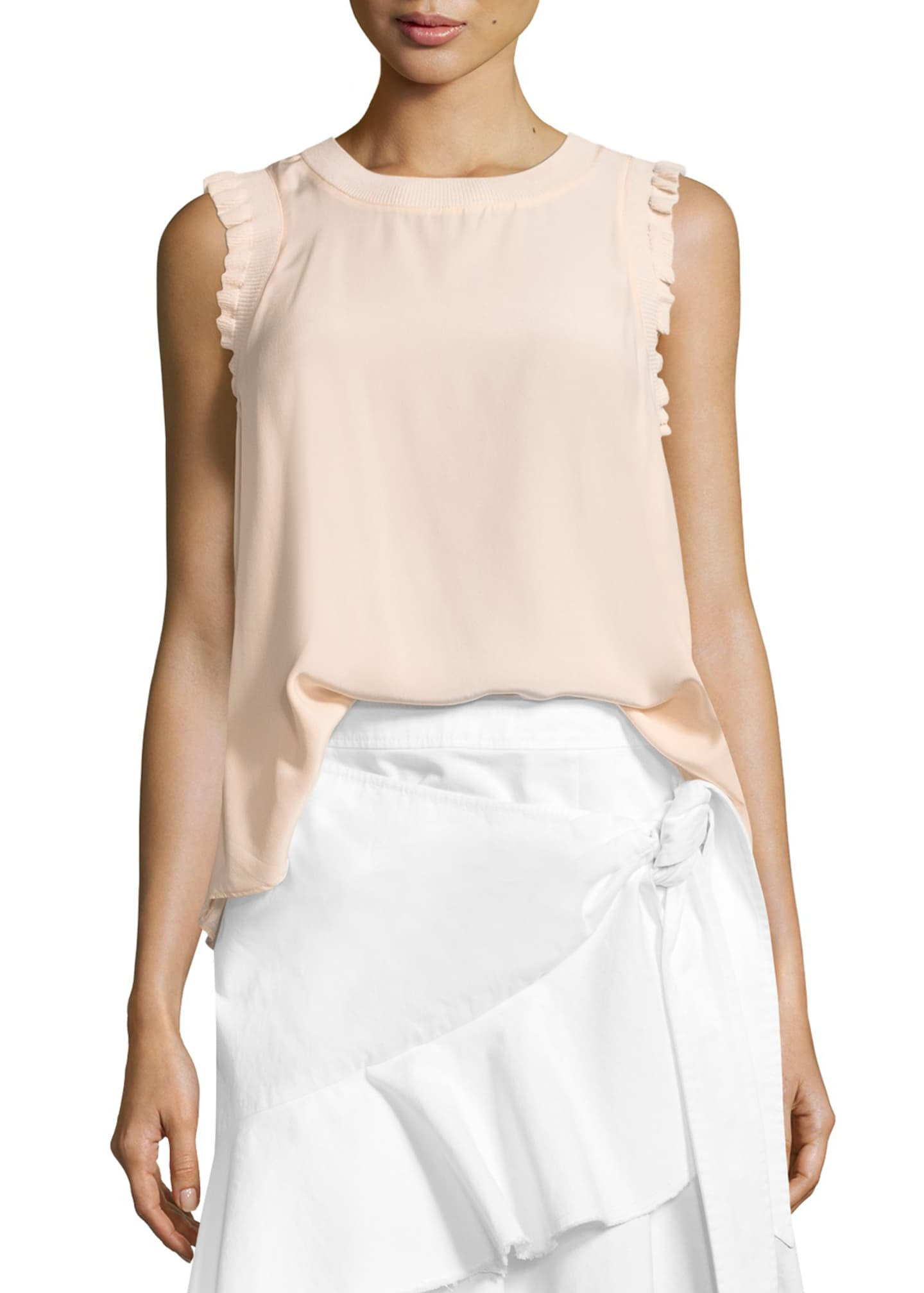 Image 1 of 2: Tous Les Jours Lenore Crewneck Sleeveless Silk Top