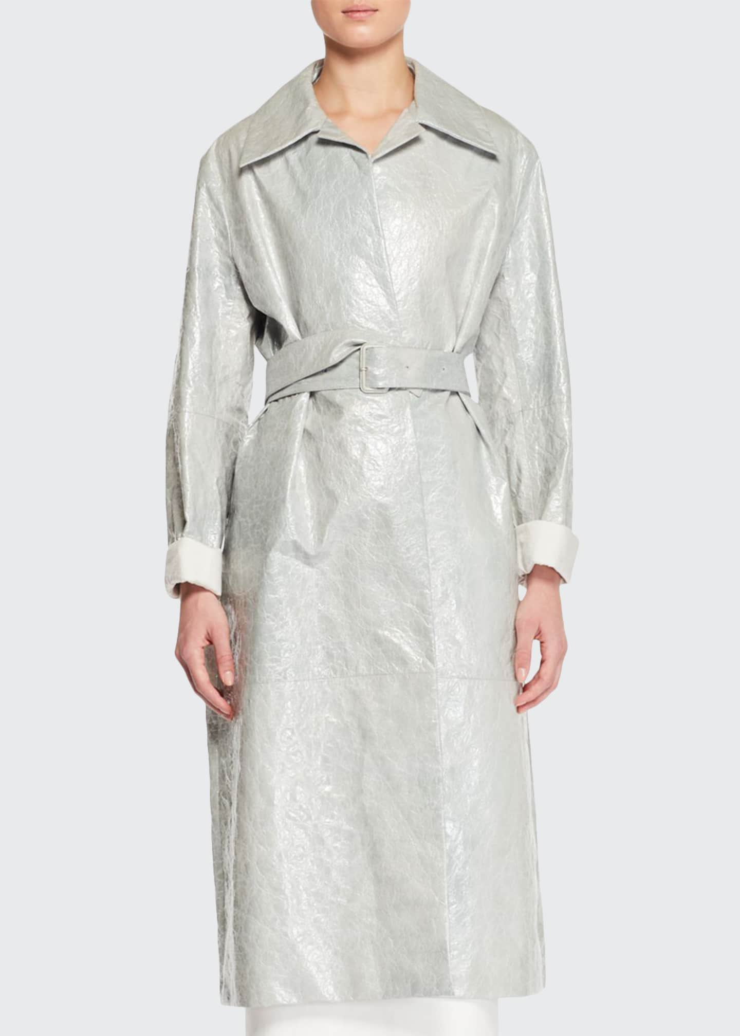 Image 1 of 2: Rundi Spread-Collar Belted Leather Coat