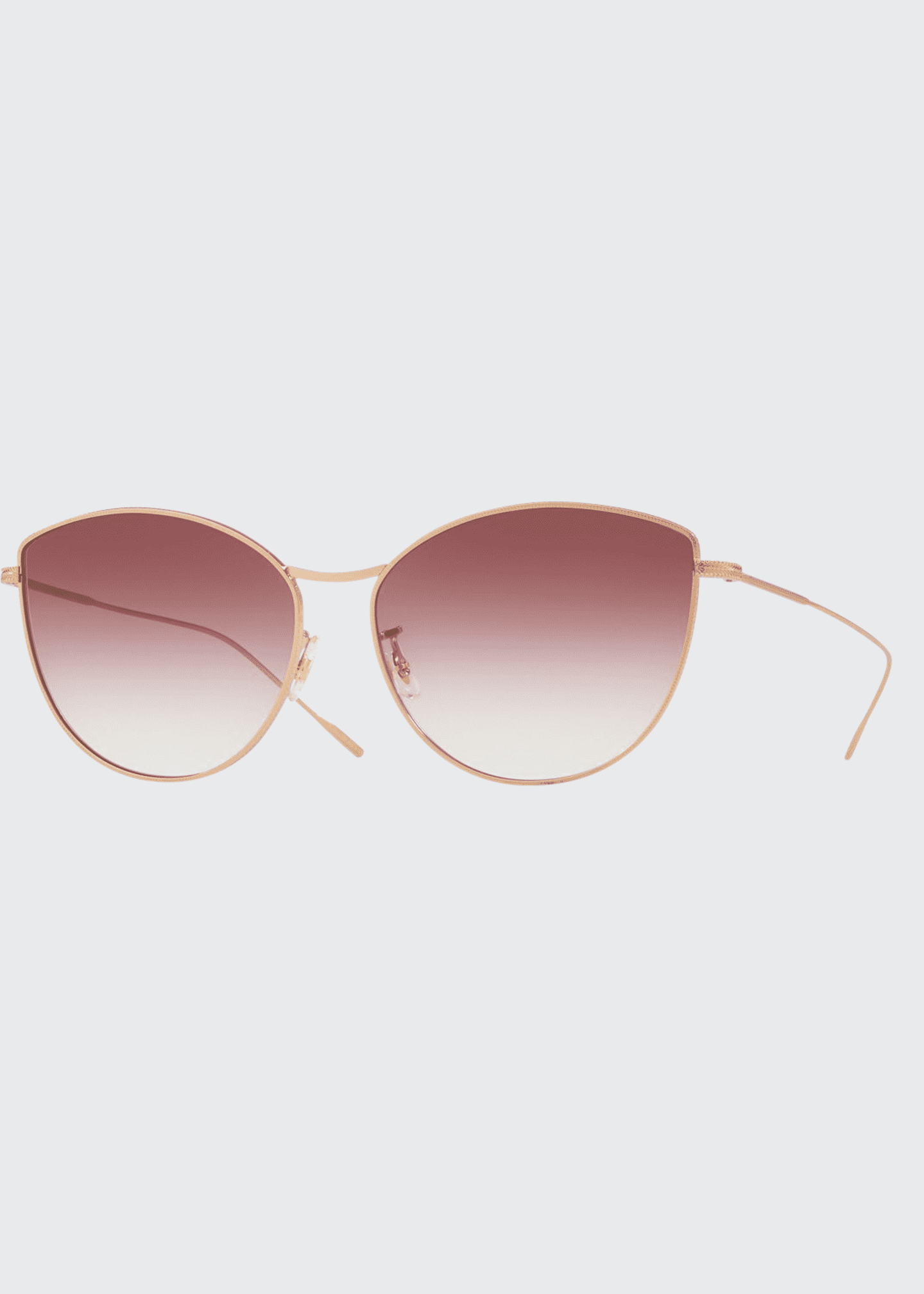 Image 1 of 1: Rayette Vintage-Inspired Metal Cat-Eye Sunglasses, Rose Gold