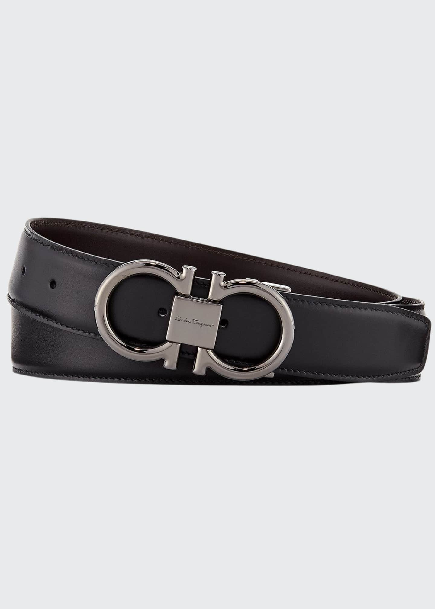 Image 1 of 1: Men's Double-Gancini Reversible Leather Belt