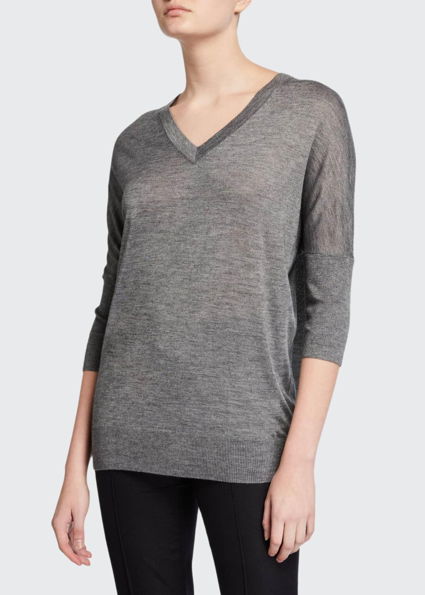 Derek Lam Cashmere-Silk 3/4-Sleeve V-Neck Sweater