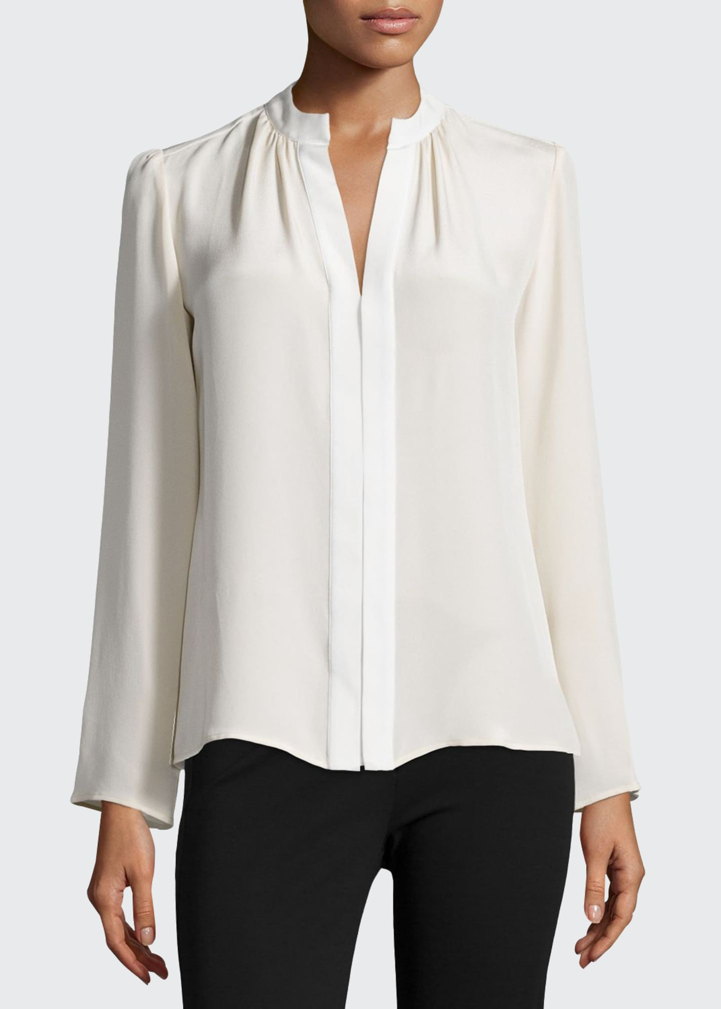 Image 1 of 3: Long-Sleeve Slim-Fit Blouse