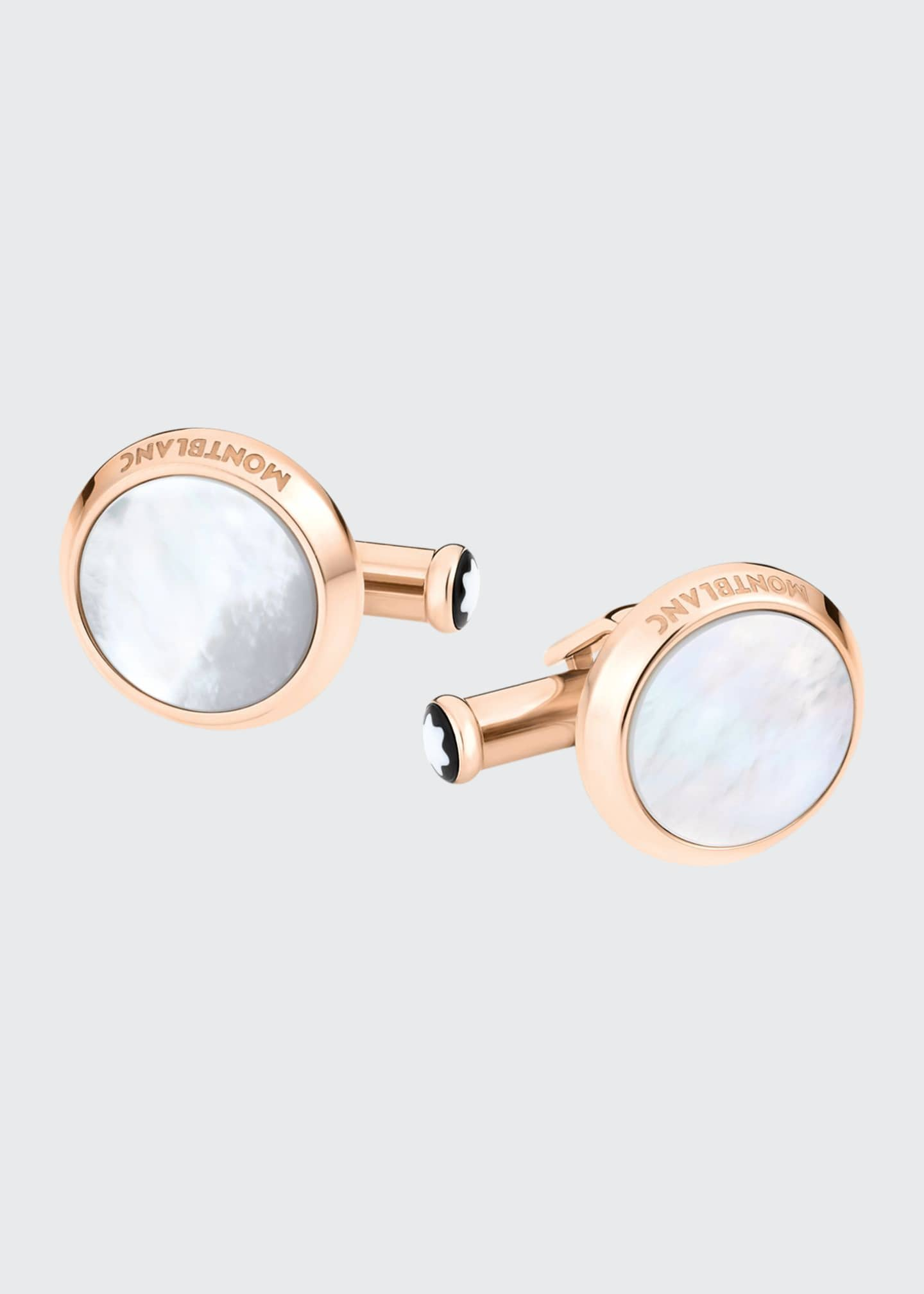 Image 1 of 1: Mother-of-Pearl Round Rose Golden Cuff Links