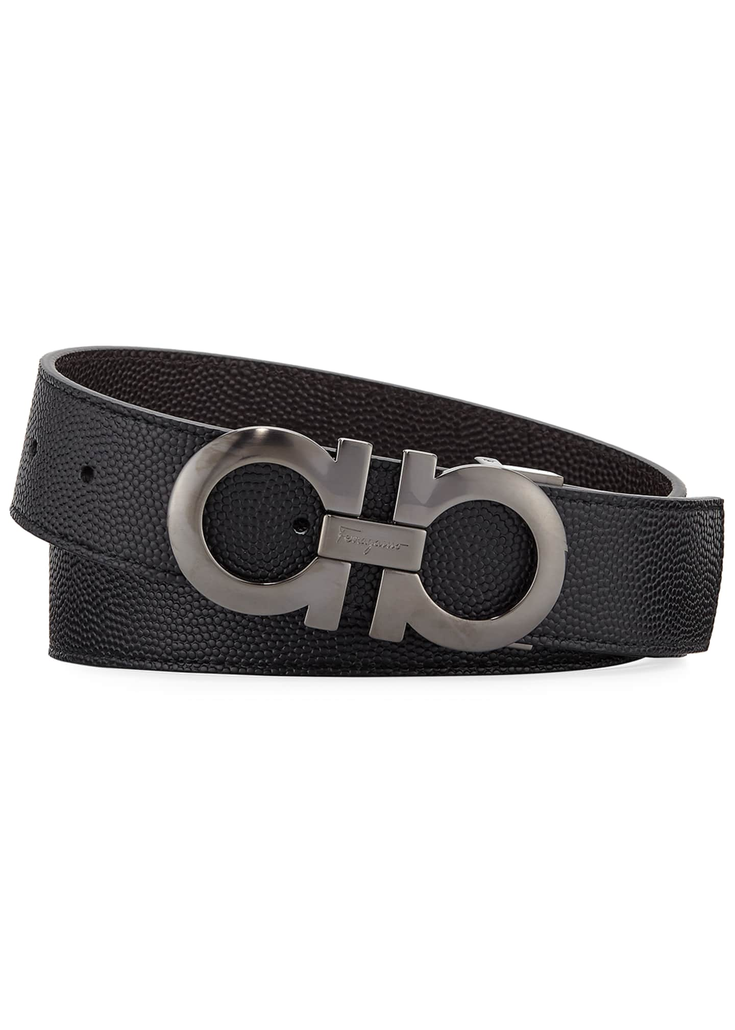 Image 1 of 1: Men's Double-Gancio Stamped Leather Belt