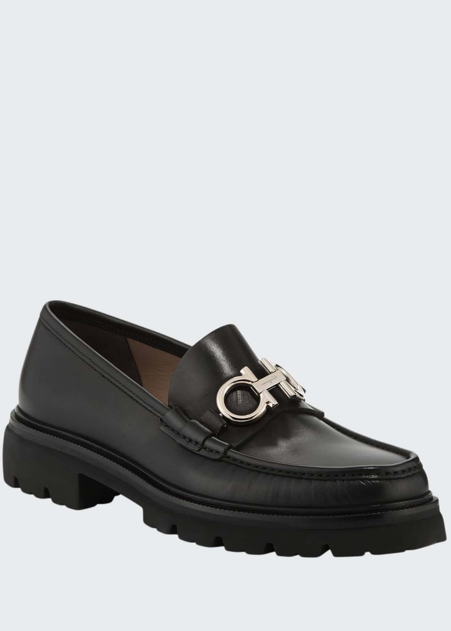 Image 1 of 3: Men's Bleecker Leather Lug-Sole Loafers with Reversible Bit