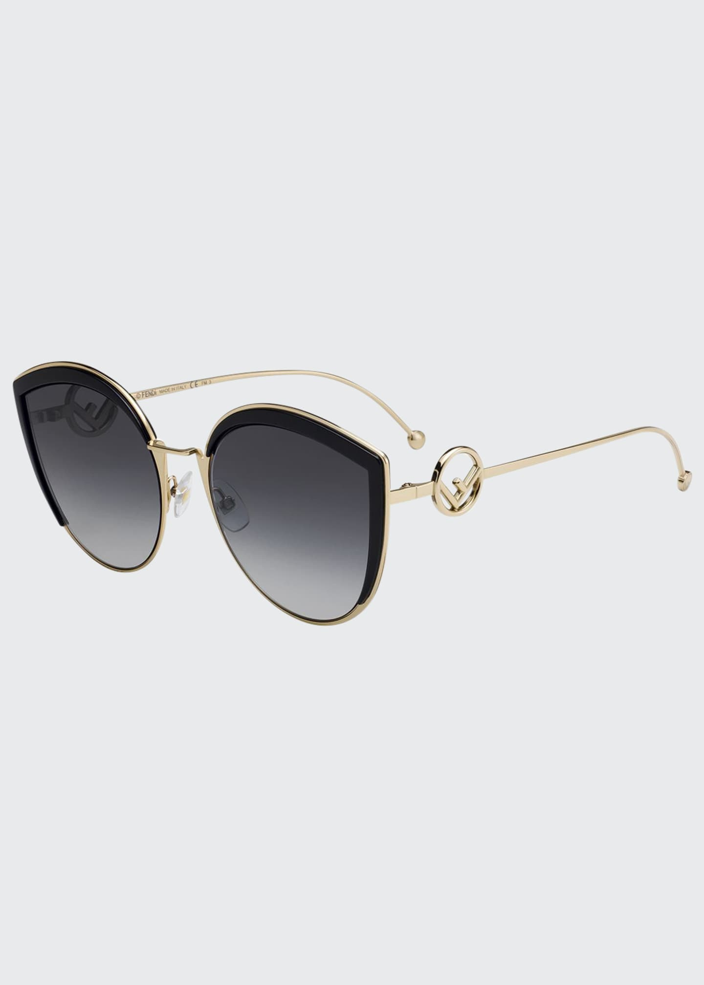 Image 1 of 1: Cat Eye Metal Gradient Sunglasses