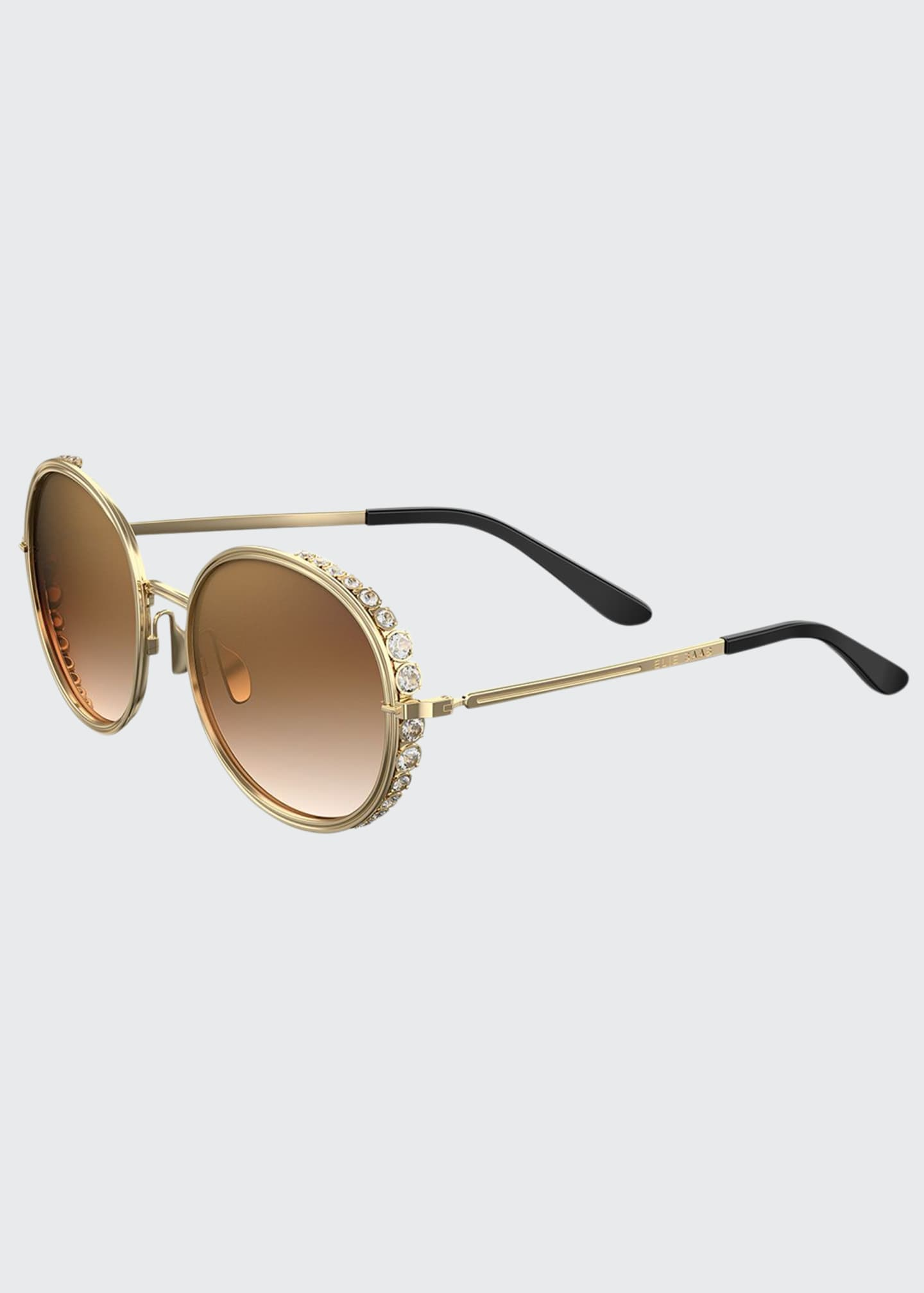 Image 1 of 1: Round Crystal-Trim Sunglasses