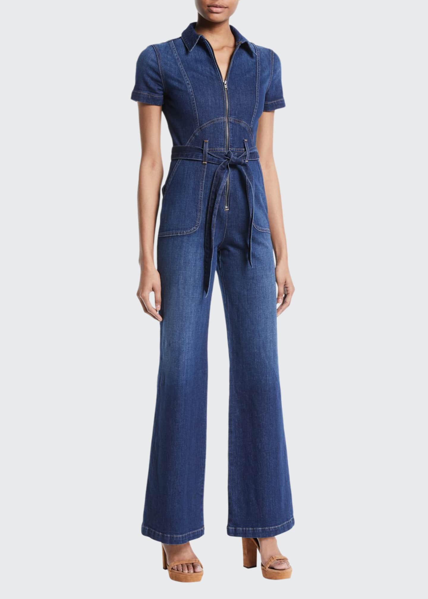 Image 1 of 2: Gorgeous Wide-Leg Fitted Denim Jumpsuit