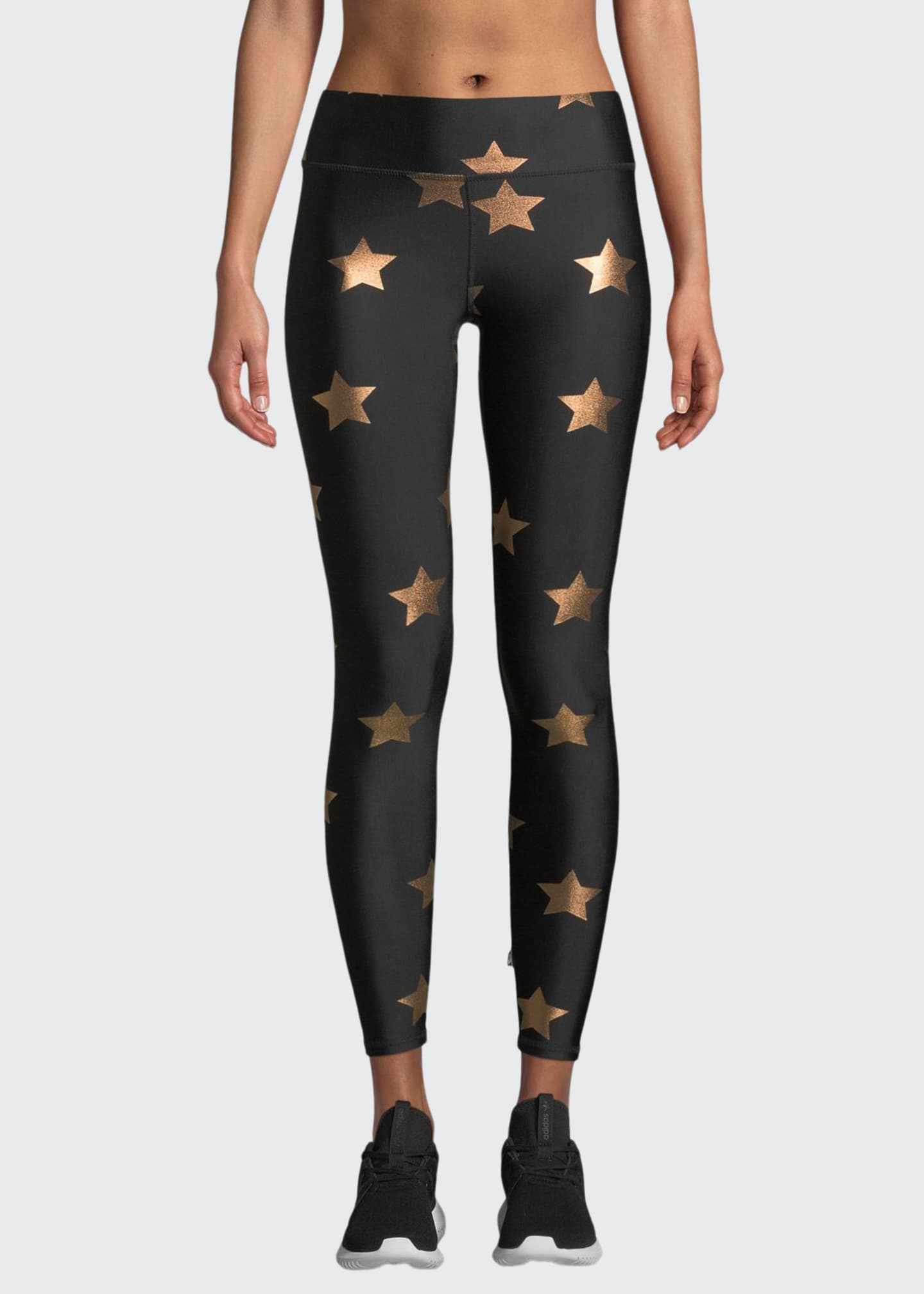 Image 1 of 4: Star Foil Printed Tall Band Performance Leggings