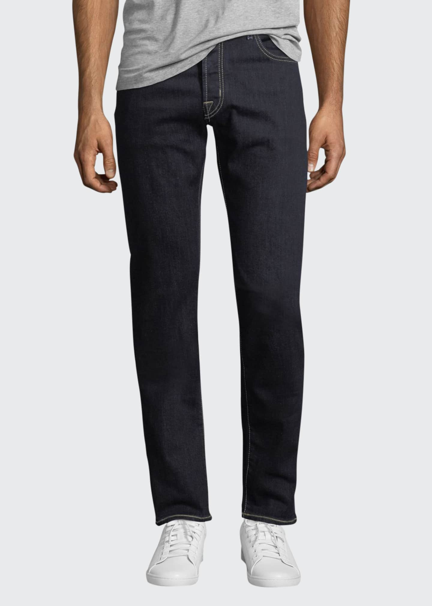 Image 1 of 3: Straight-Leg Stretch-Denim Jeans with Contrast Stitching