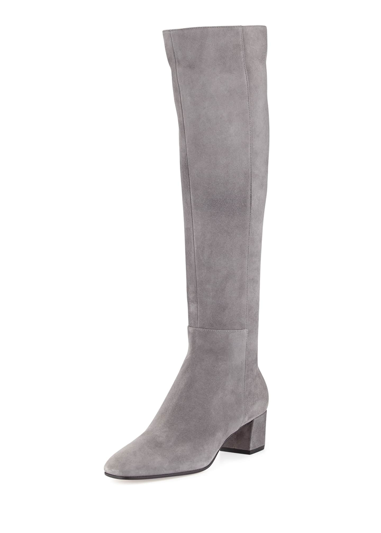 Gianvito Rossi Low-Heel Suede Knee Boots