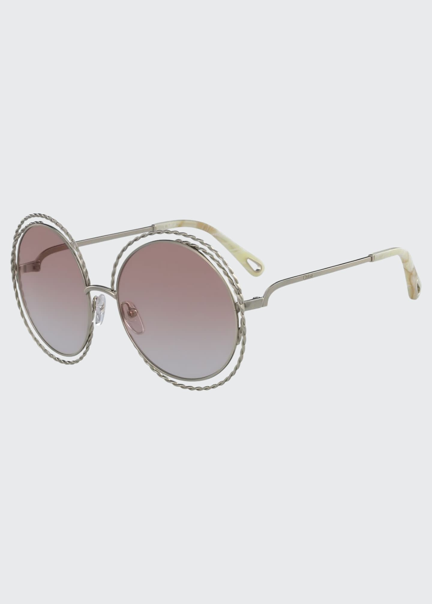 Image 1 of 1: Carlina Round Concentric Metal Sunglasses