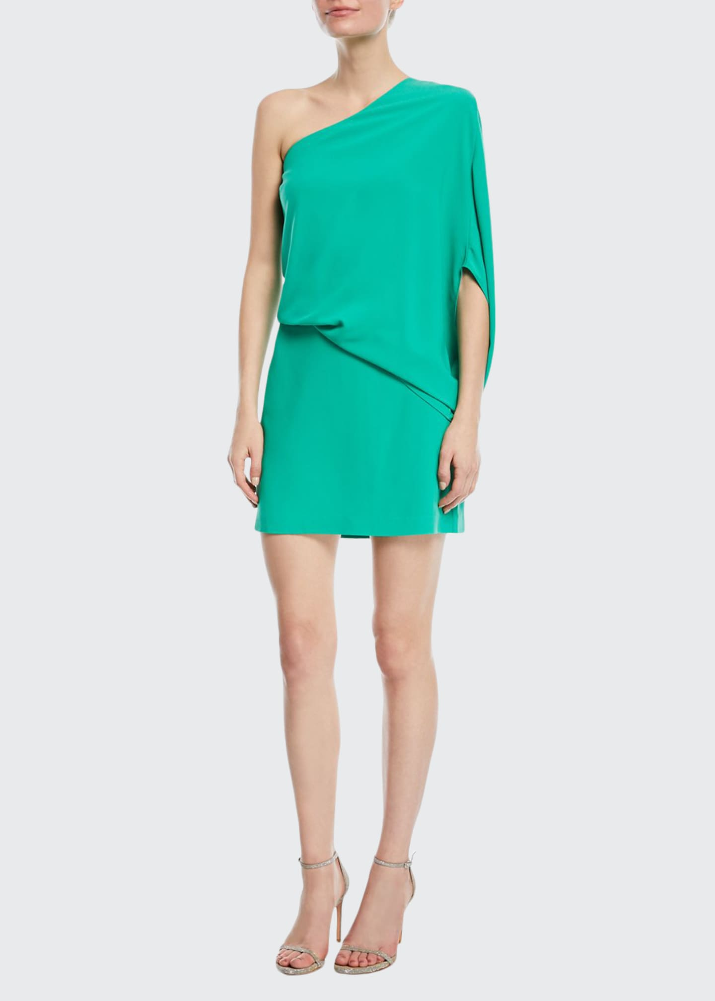 Image 1 of 2: One-Shoulder Asymmetric-Sleeve Dress