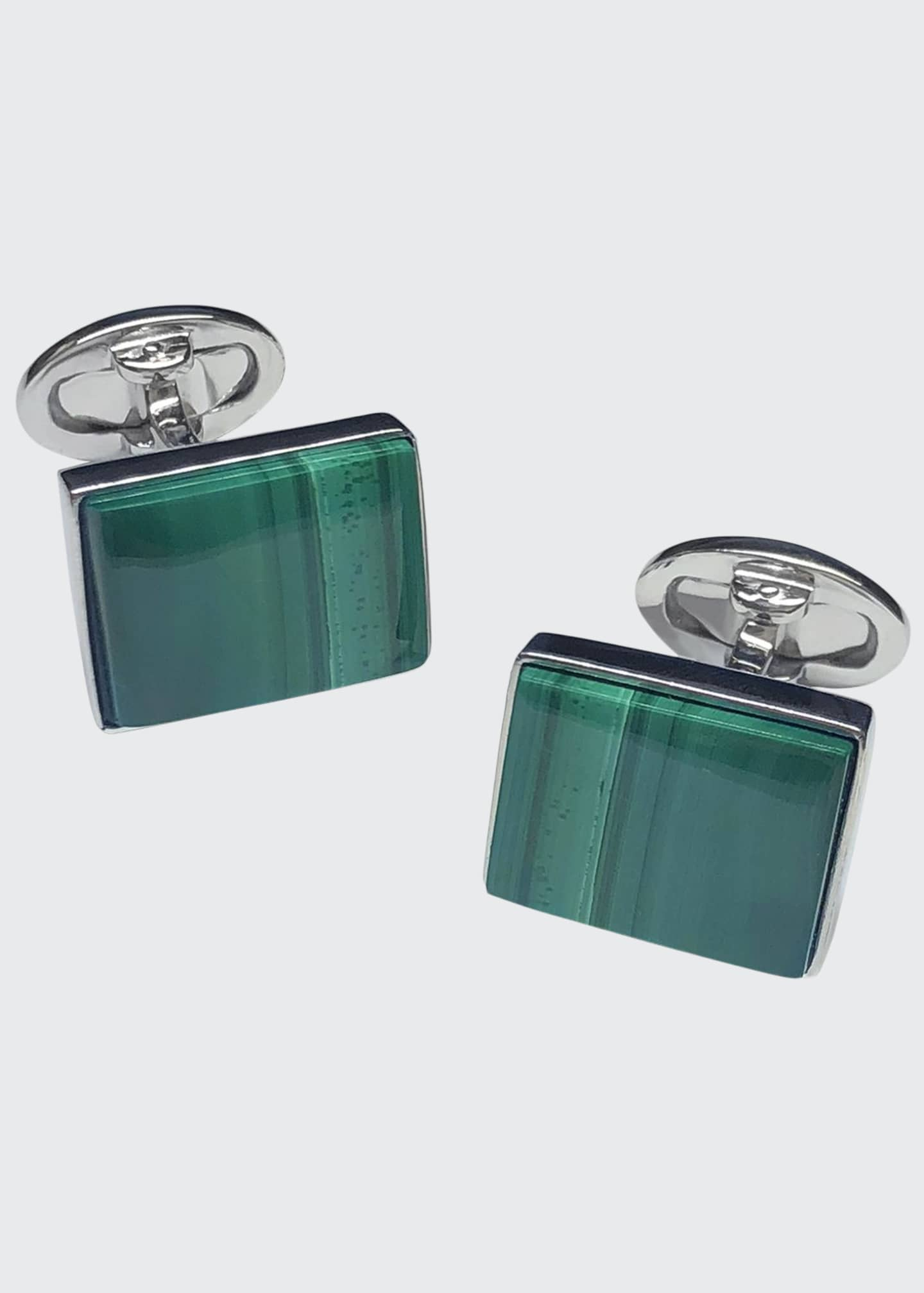 Jan Leslie Men's Natural Malachite Rectangle Cufflinks