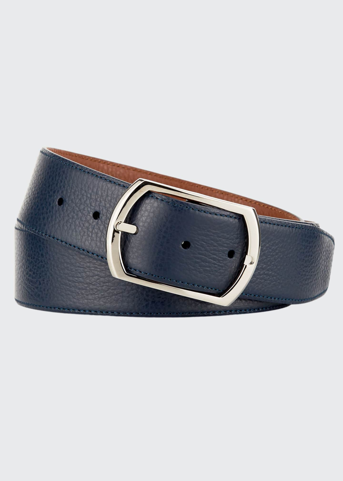 Image 1 of 2: Reversible Grained Leather Belt