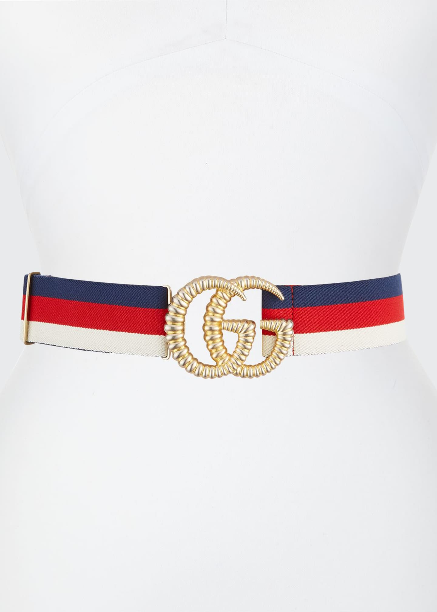Image 1 of 1: Piccadilly Moon Elastic Web Belt w/ Textured GG Buckle