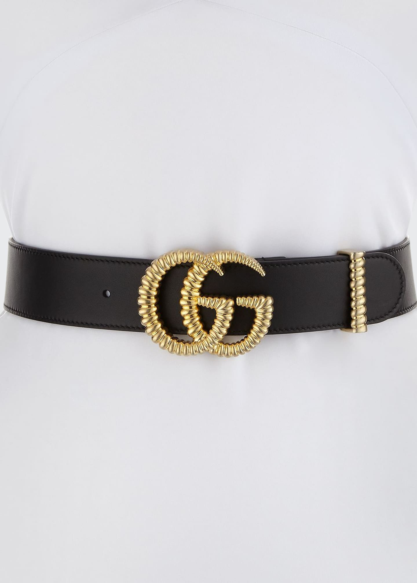 "Image 1 of 1: Moon Leather Belt w/ Textured GG Buckle, 1.5""W"