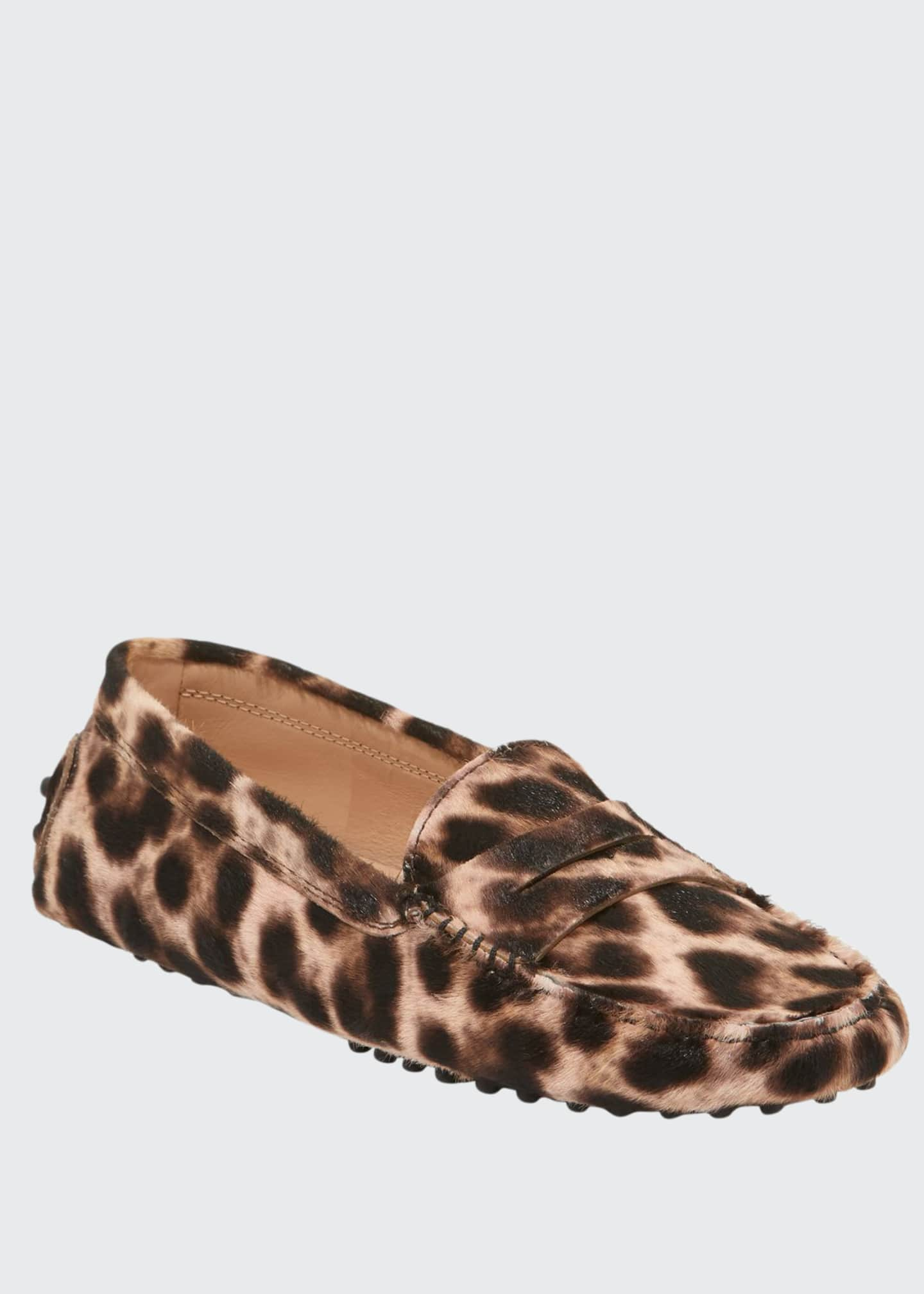 Image 1 of 3: Leopard-Print Gommini Flat Penny Loafers