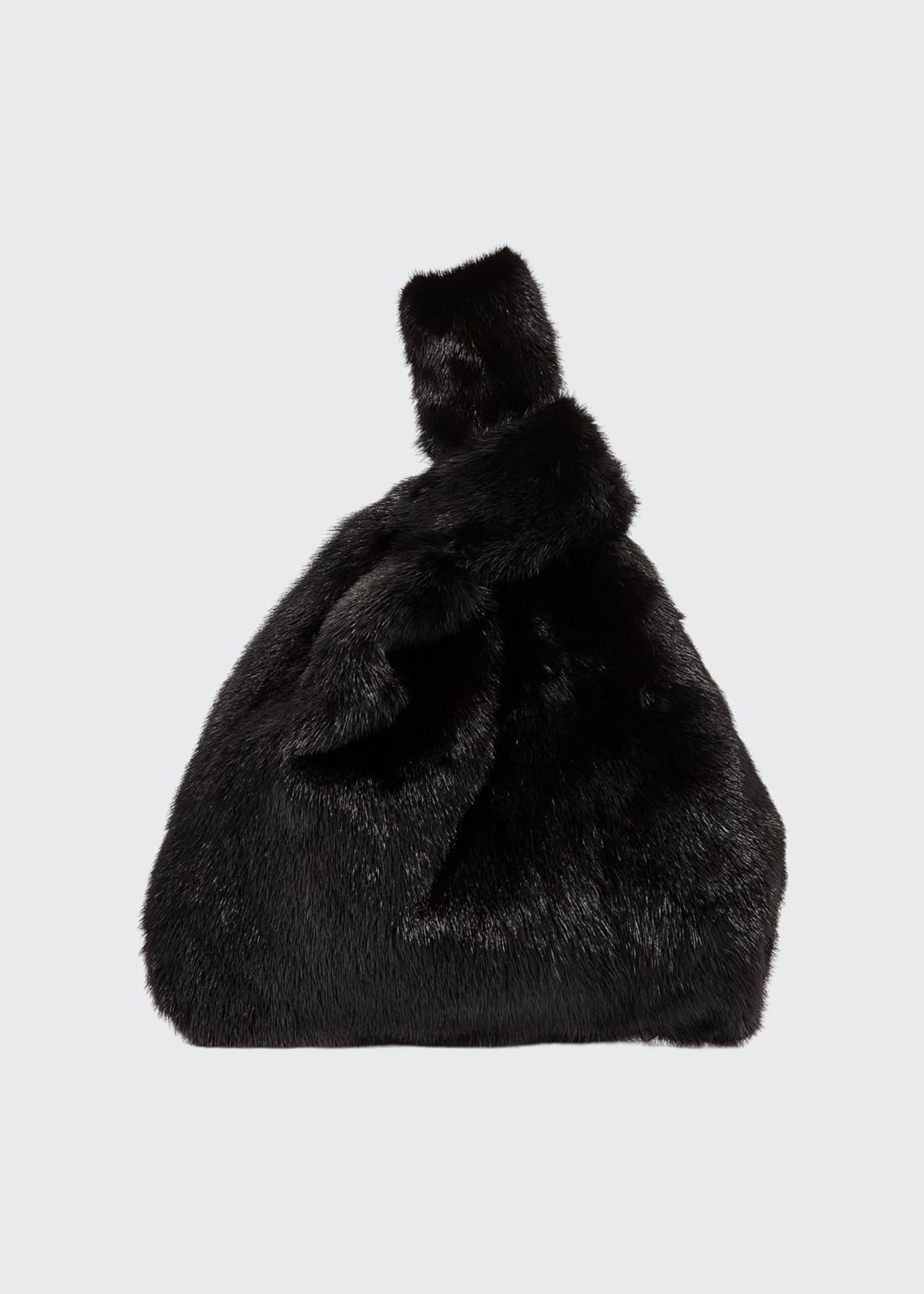 Image 1 of 3: Furrissima Mink Fur Shopper Tote Bag, Black