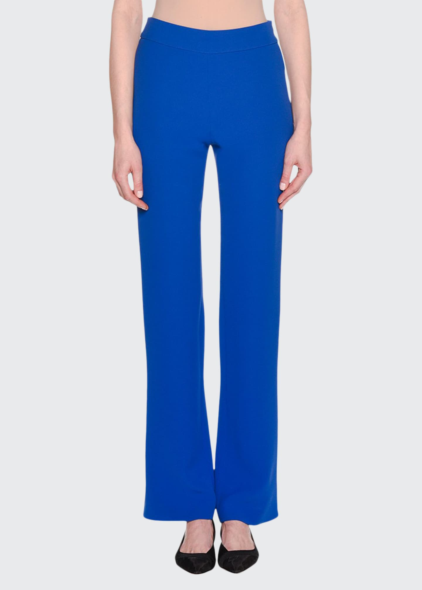 Image 1 of 2: Double-Face Boot-Cut Silk Crepe Pants
