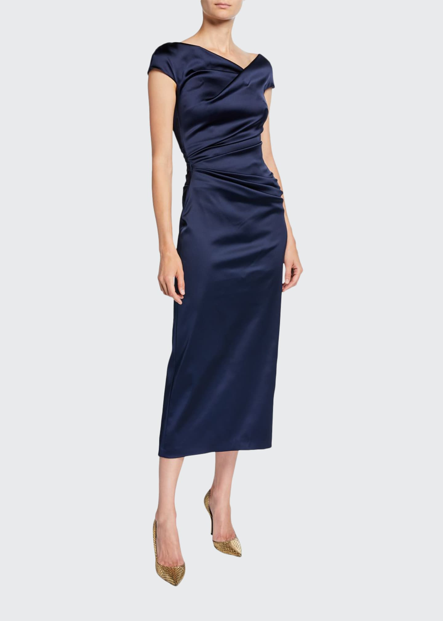 Talbot Runhof Roya High-Neck Cap-Sleeve Draped Midi Satin