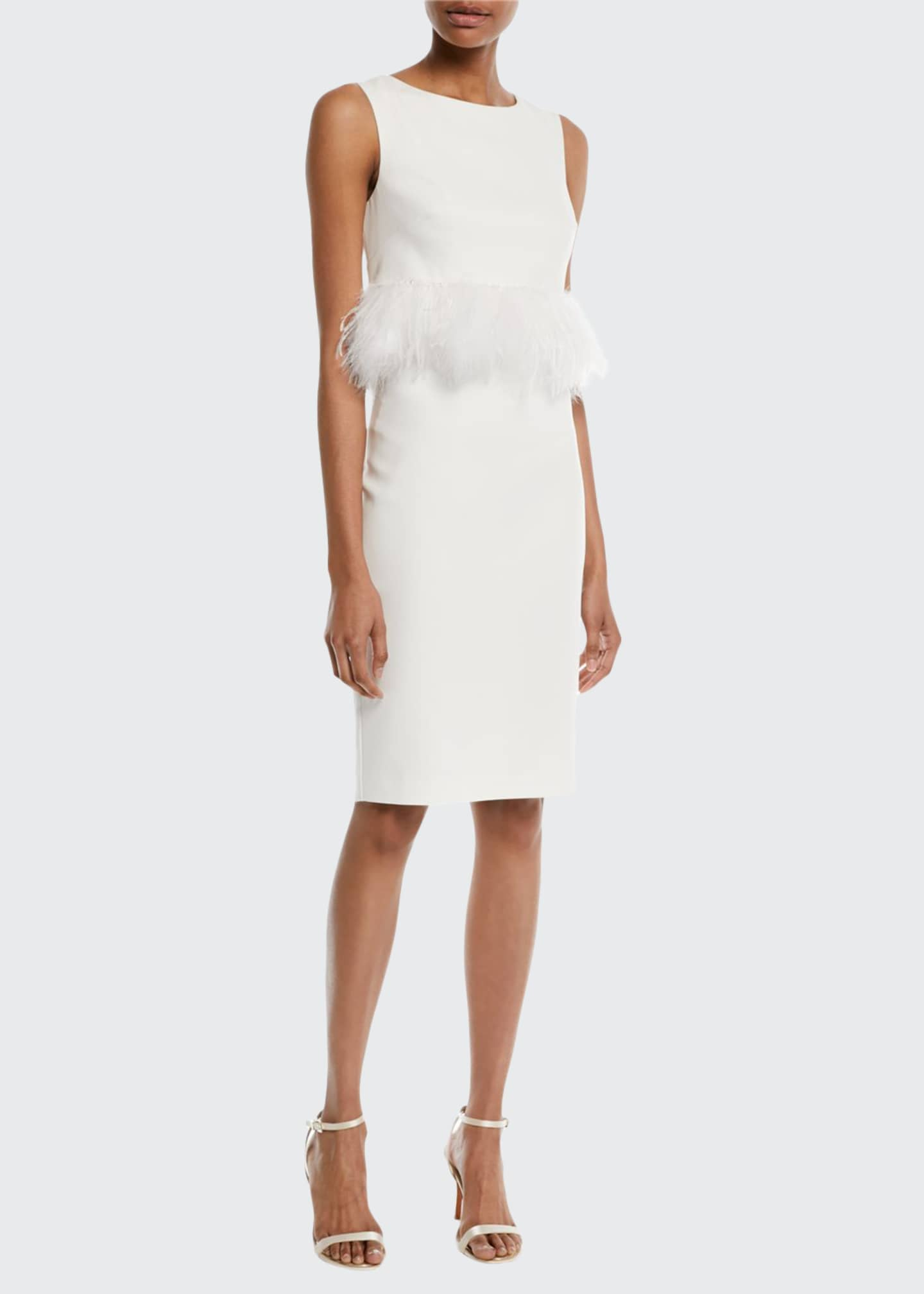 Image 1 of 2: Sleeveless Sheath Cocktail Dress w/ Popover Feathers
