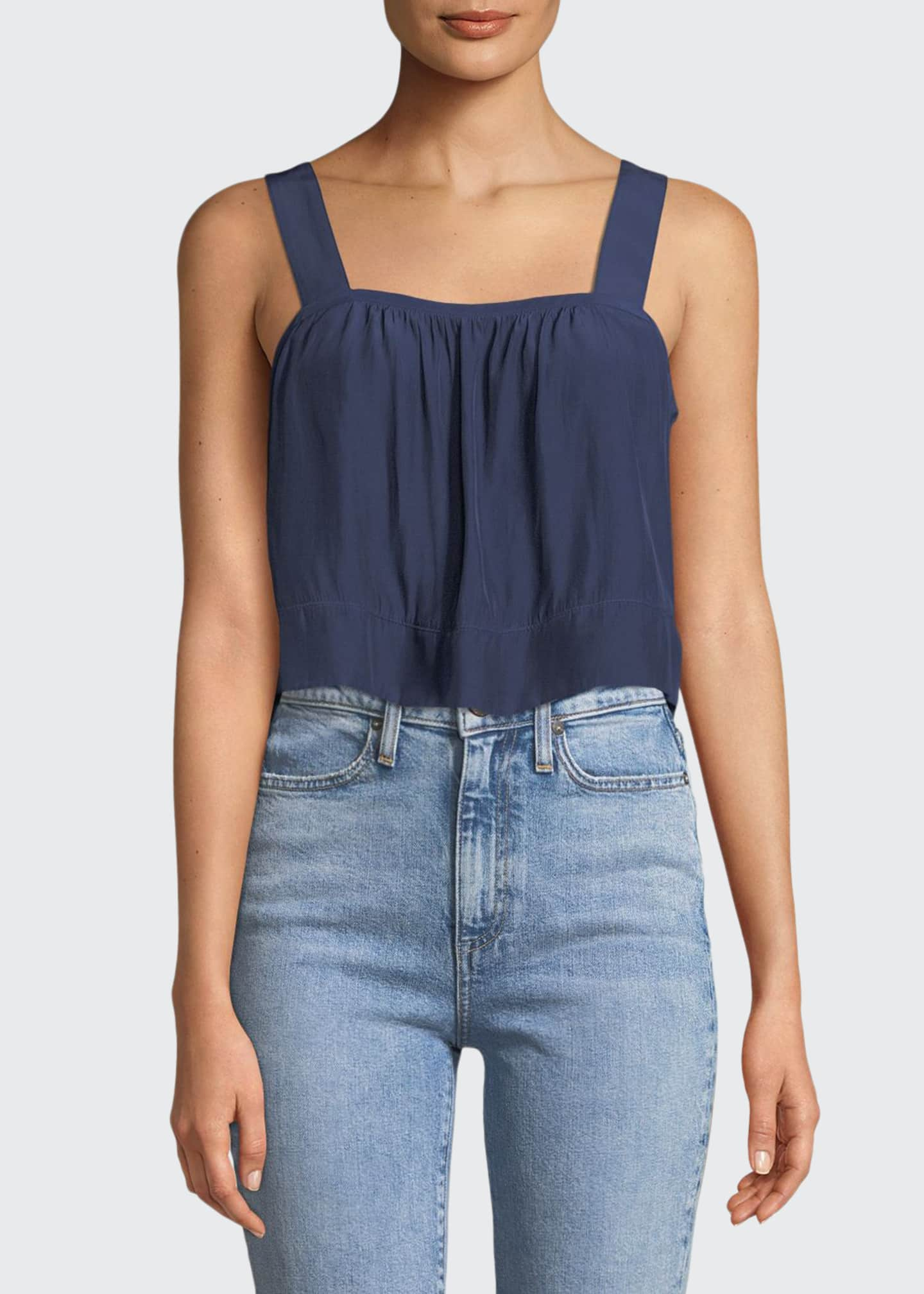 Image 1 of 2: Gwyn Square-Neck Sleeveless Cropped Top