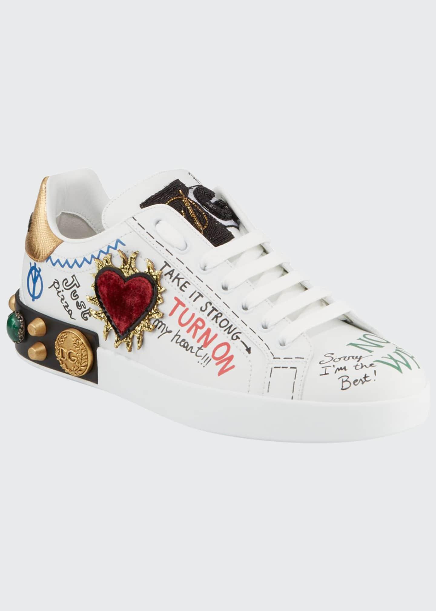 Dolce & Gabbana Men's Graffiti Portofino Jeweled Low-Top
