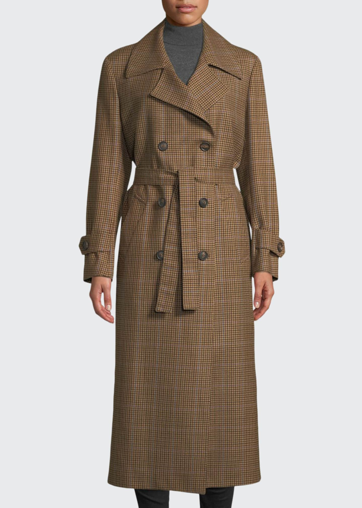 Image 1 of 3: The Christie Double-Breasted Plaid Wool Trench Coat