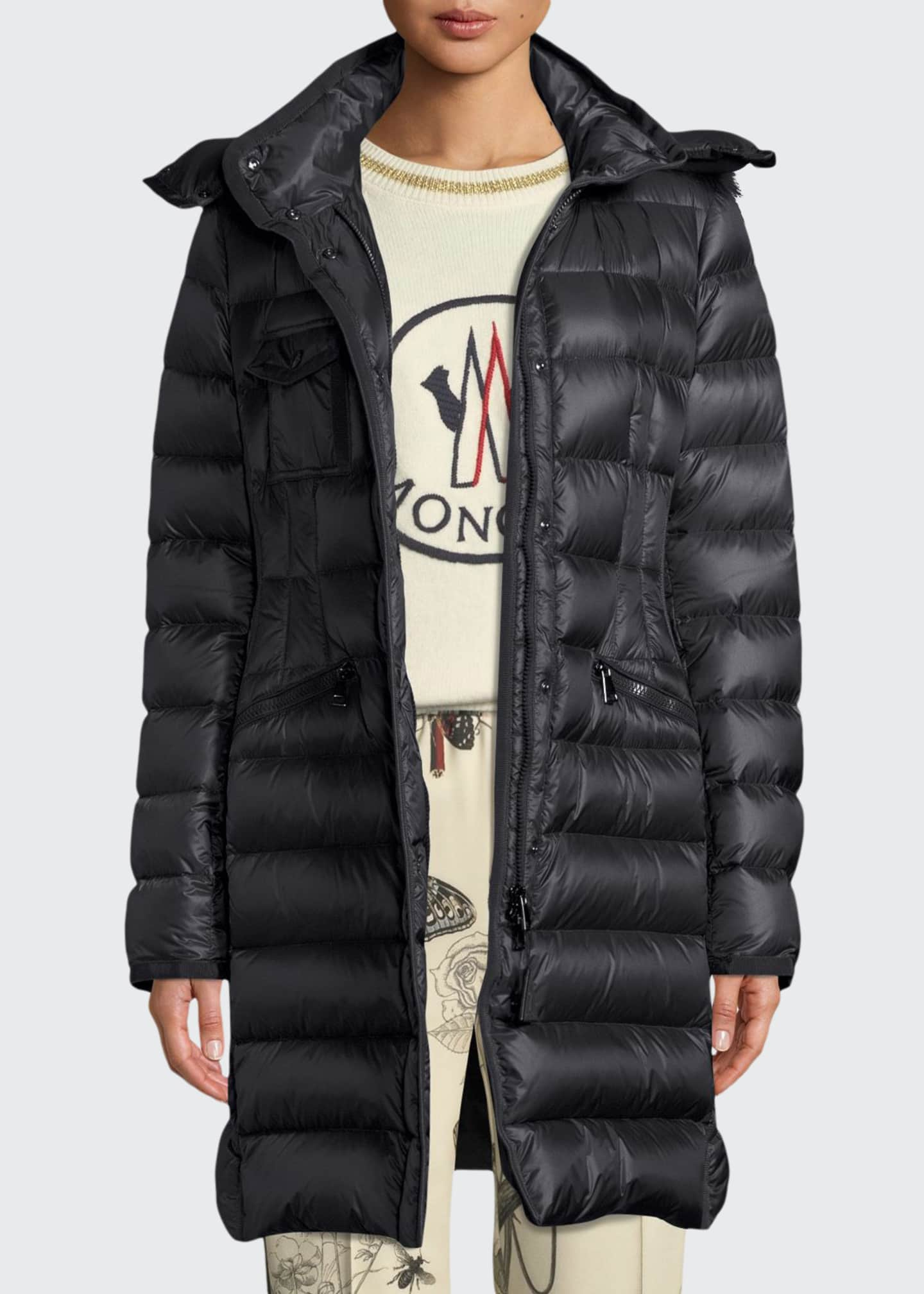 Moncler Hermifur Fitted Puffer Coat w/ Removable Fur