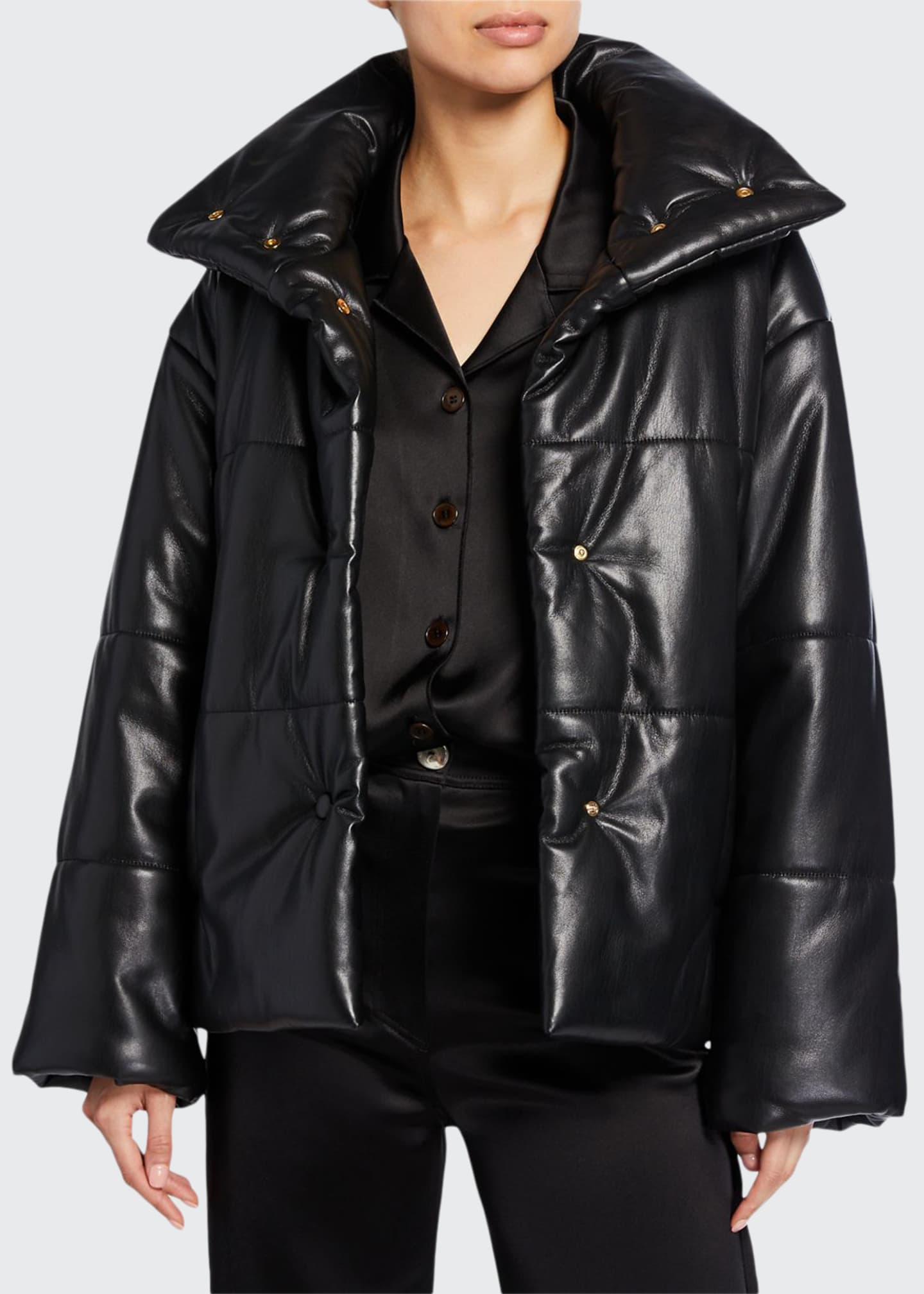 Image 1 of 3: Hide Vegan Leather Puffer Jacket