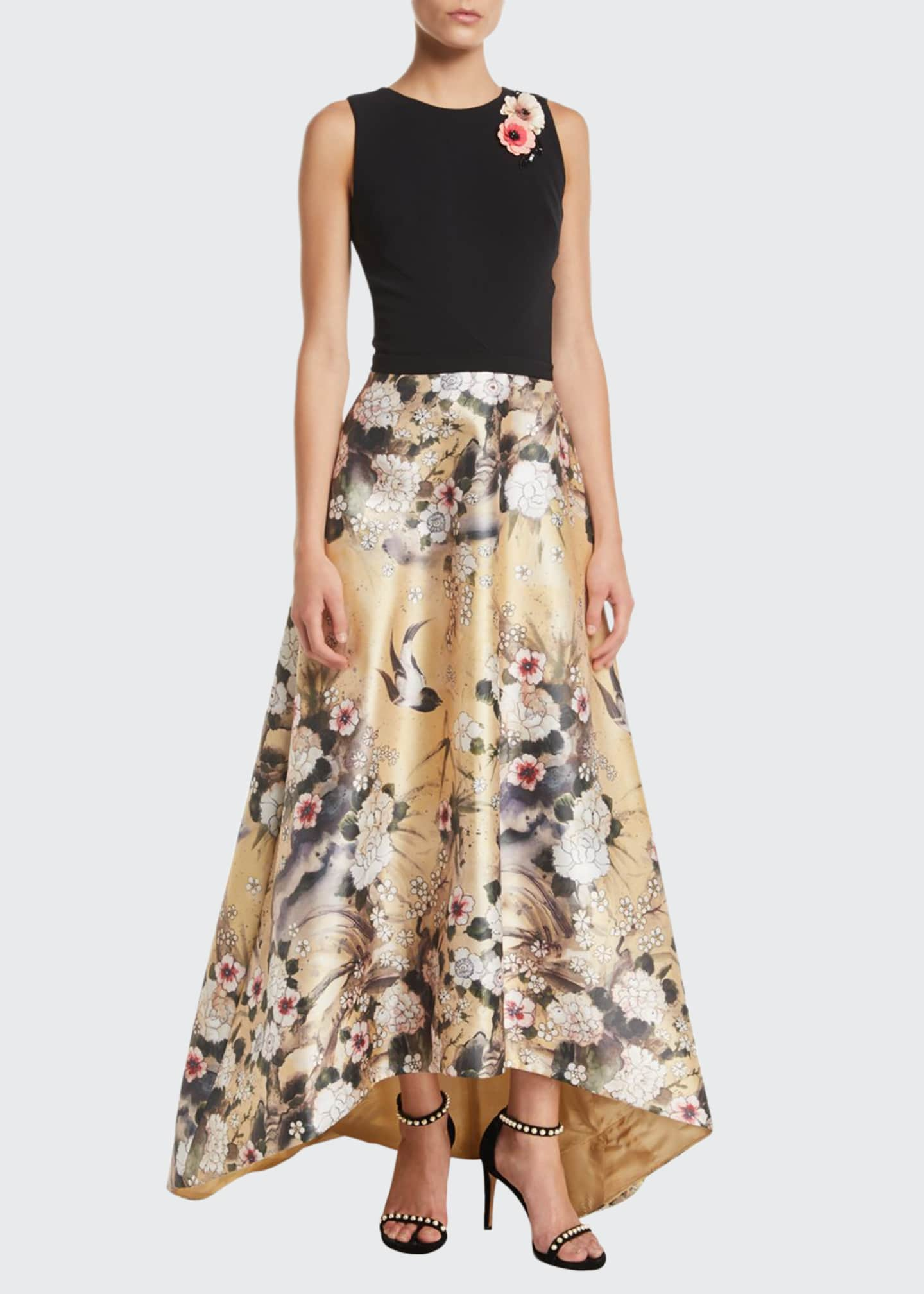 Image 1 of 2: Japanese Parchment Print Sleeveless Gown with Flowers