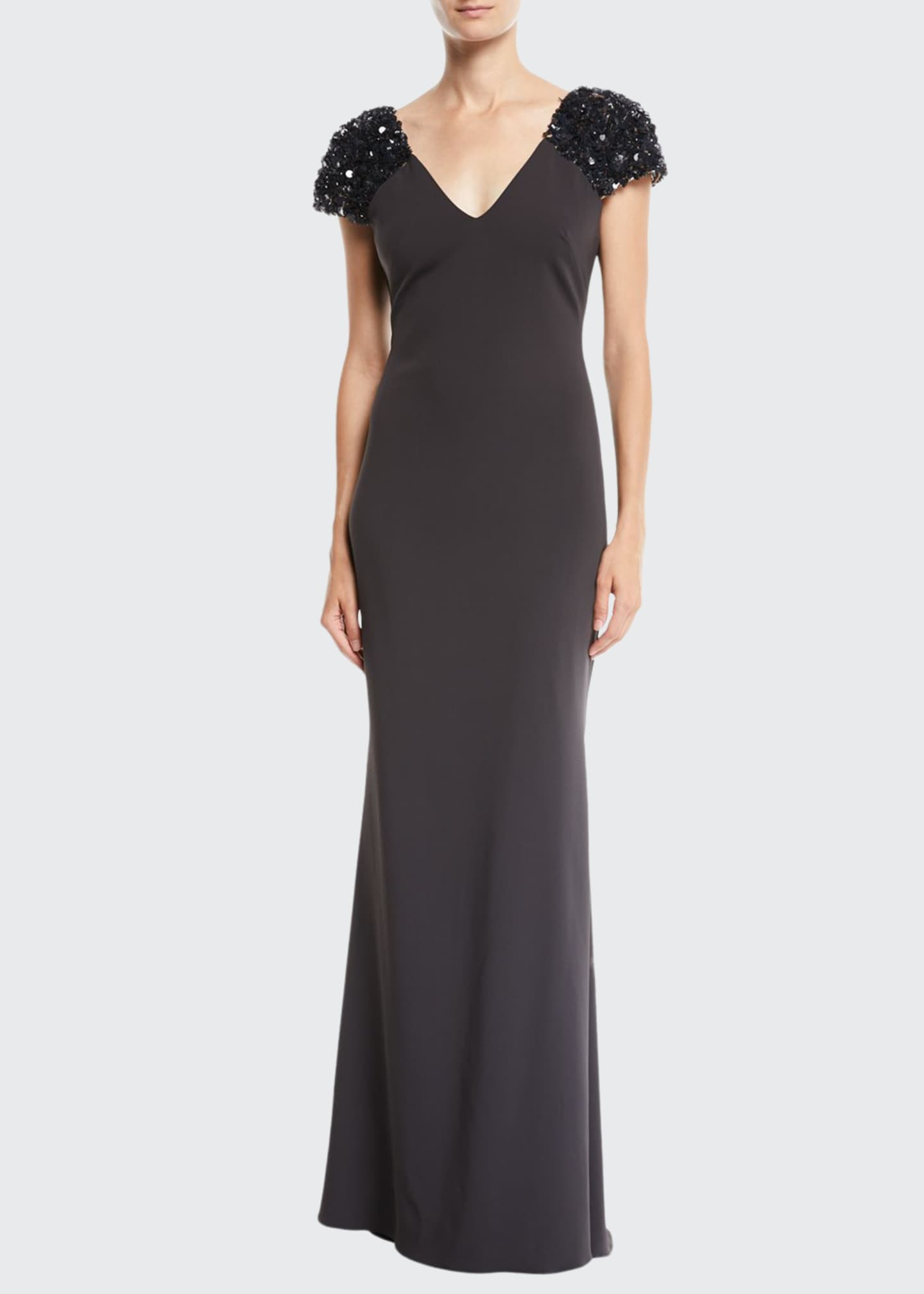Image 1 of 2: V-Neck Gown w/ Beaded Sleeves