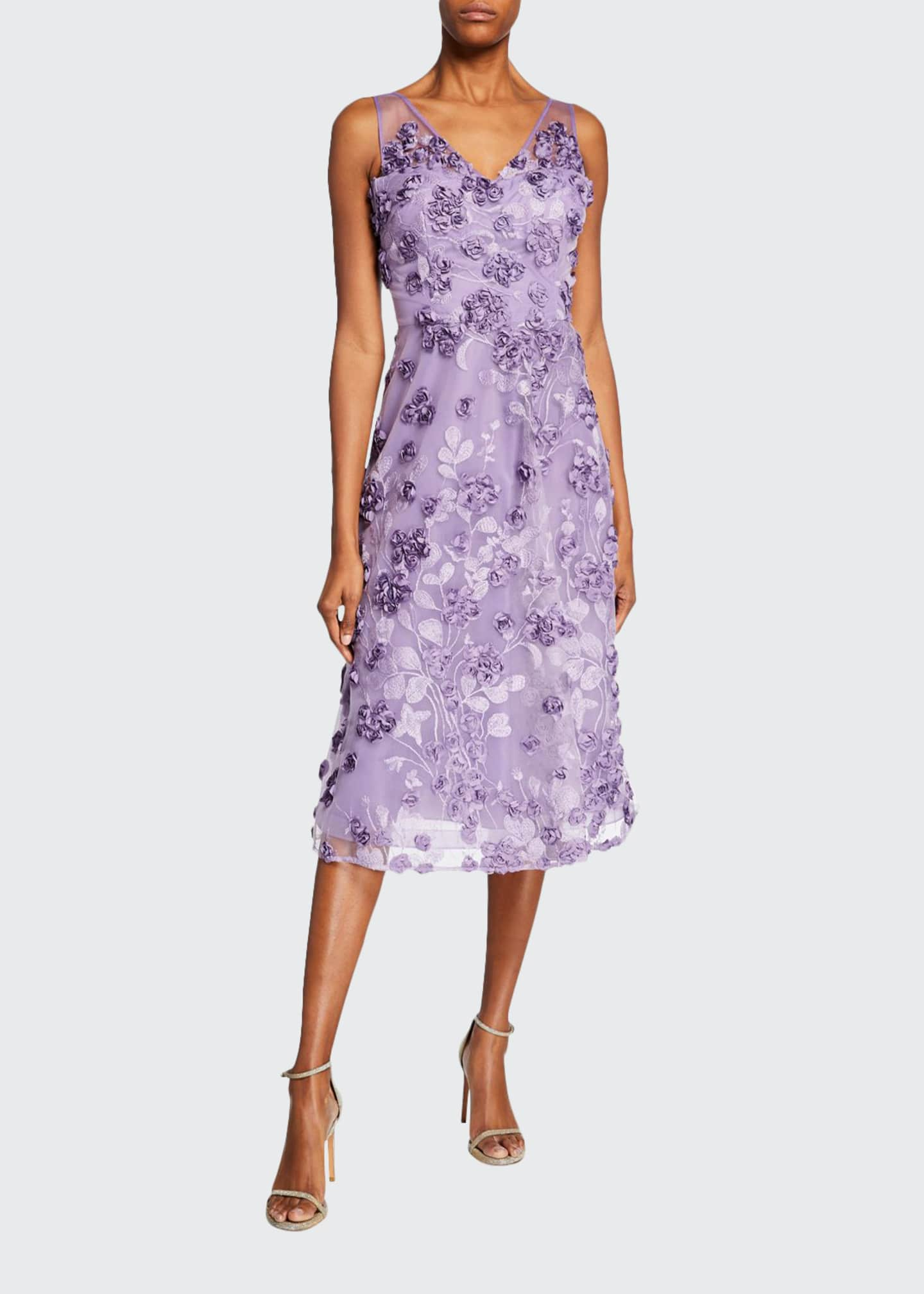 Image 1 of 2: Tulle Tea-Length Dress w/ Floral Appliques