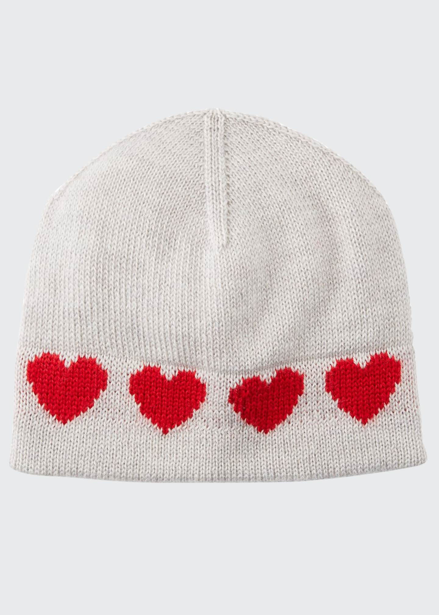 Image 1 of 2: Virgin Wool Heart Intarsia Beanie Hat, Size 0-18 Months
