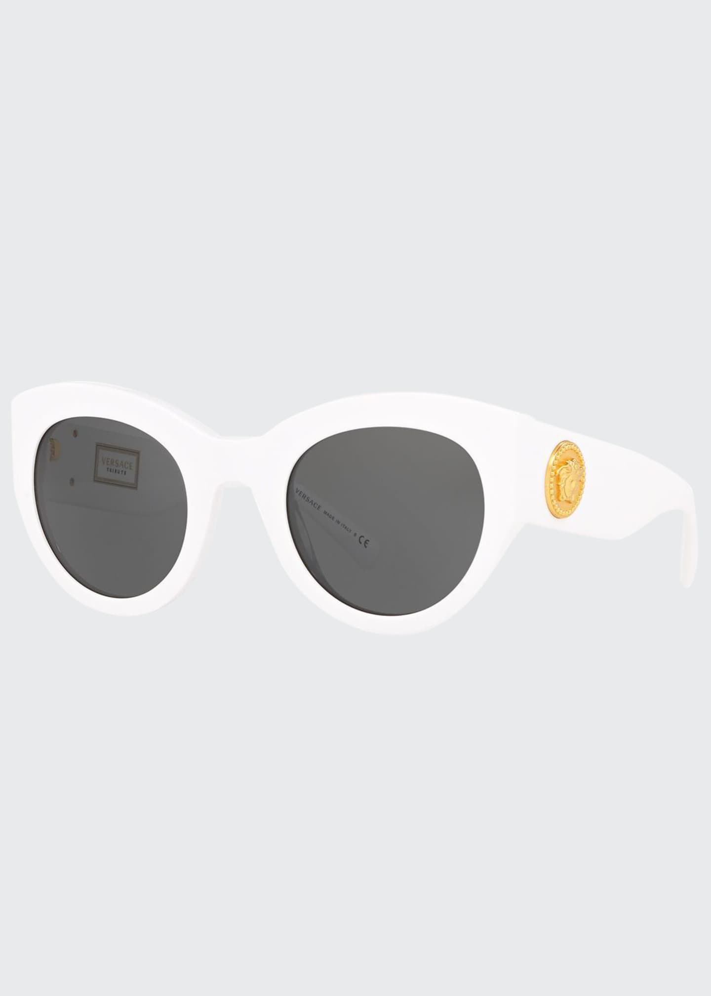 Image 1 of 3: Acetate Monochromatic Cat-Eye Sunglasses