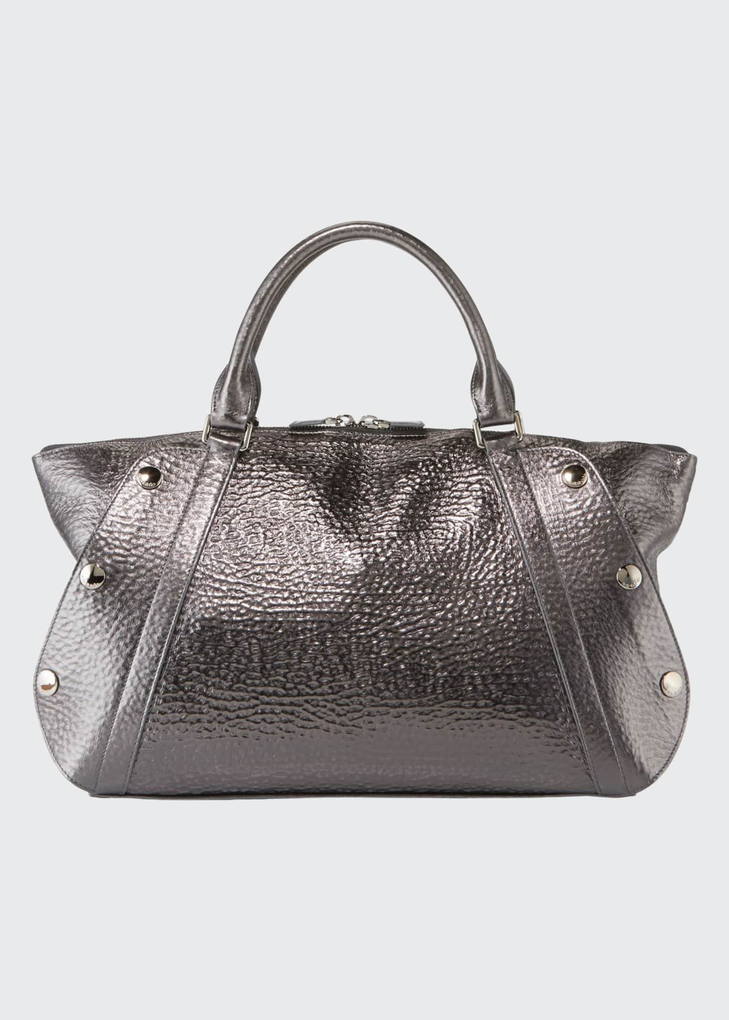 Akris Aimee Small Metallic Hammered Leather Satchel Bag