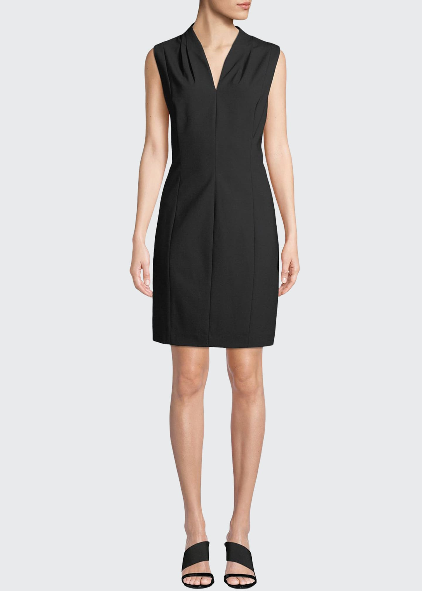 Image 1 of 3: Annabel Sleeveless V-Neck Shift Dress