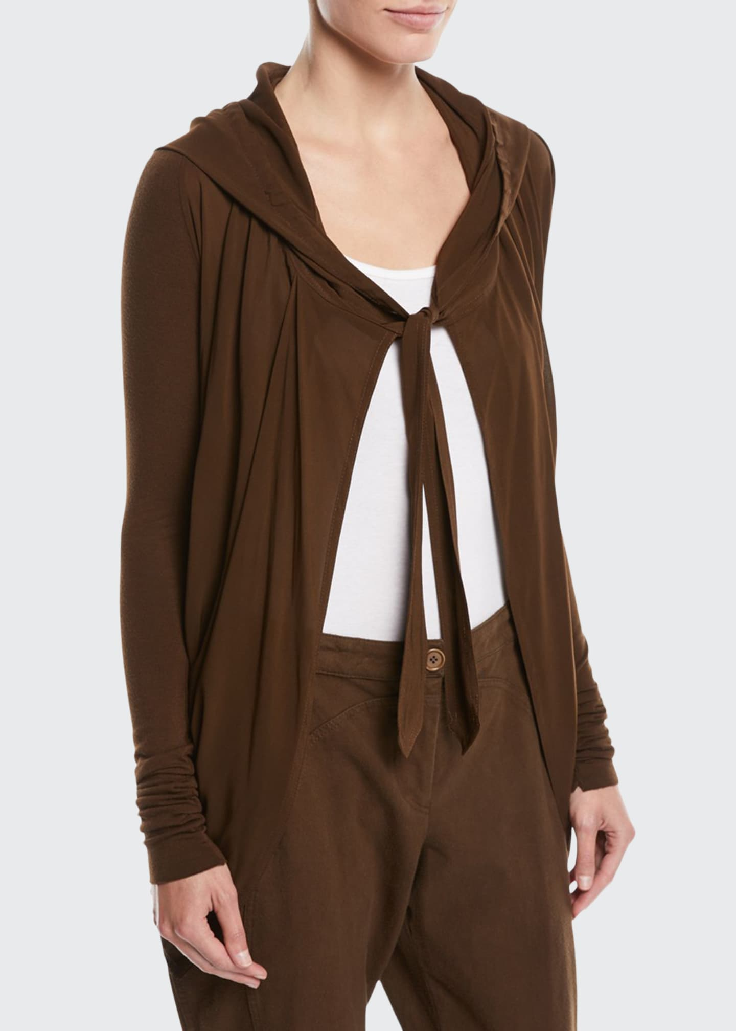 Image 1 of 2: Tie-Front Hooded Draped Cardigan