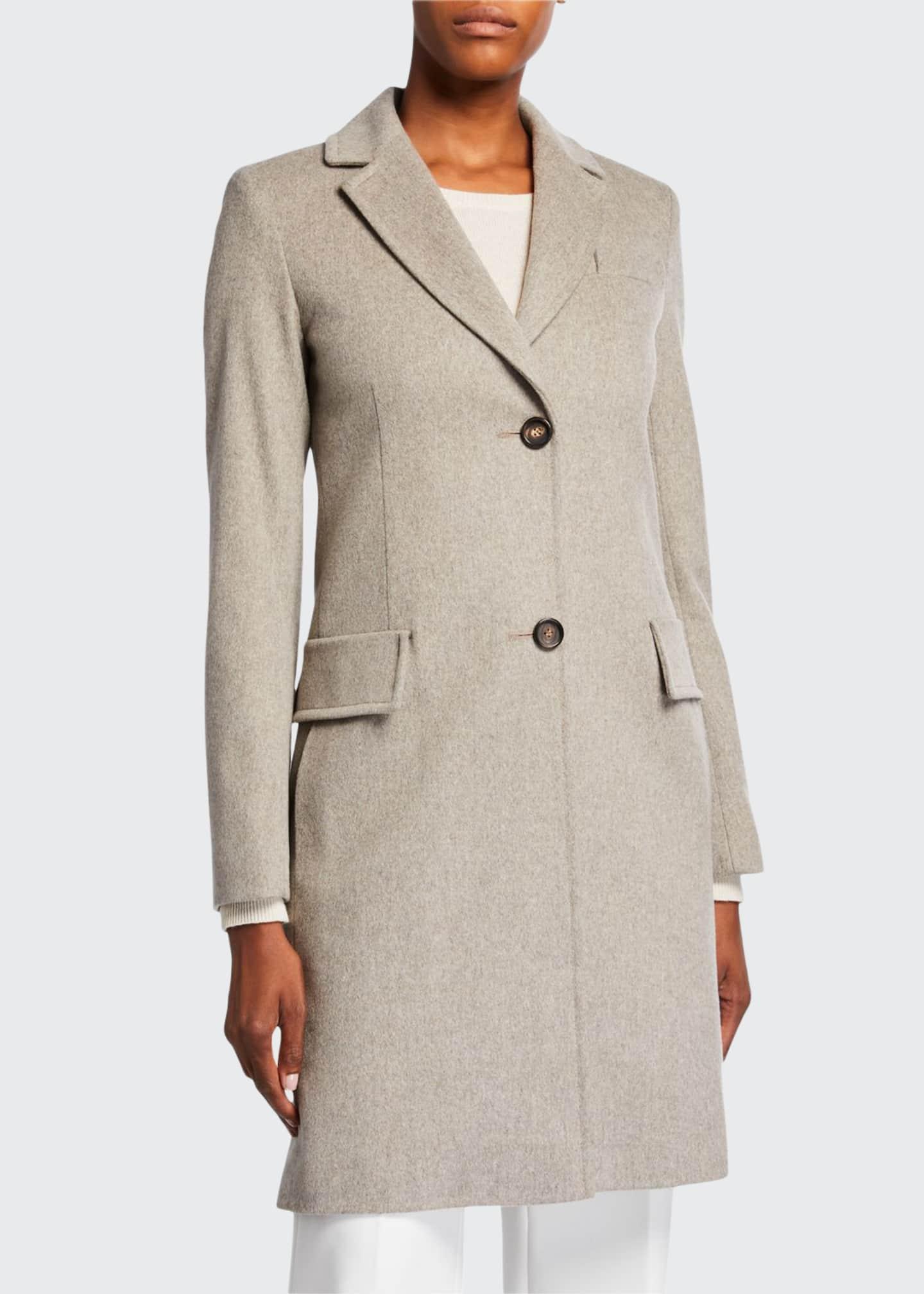 Fleurette Midi-Length Top Coat w/ Two-Button Front