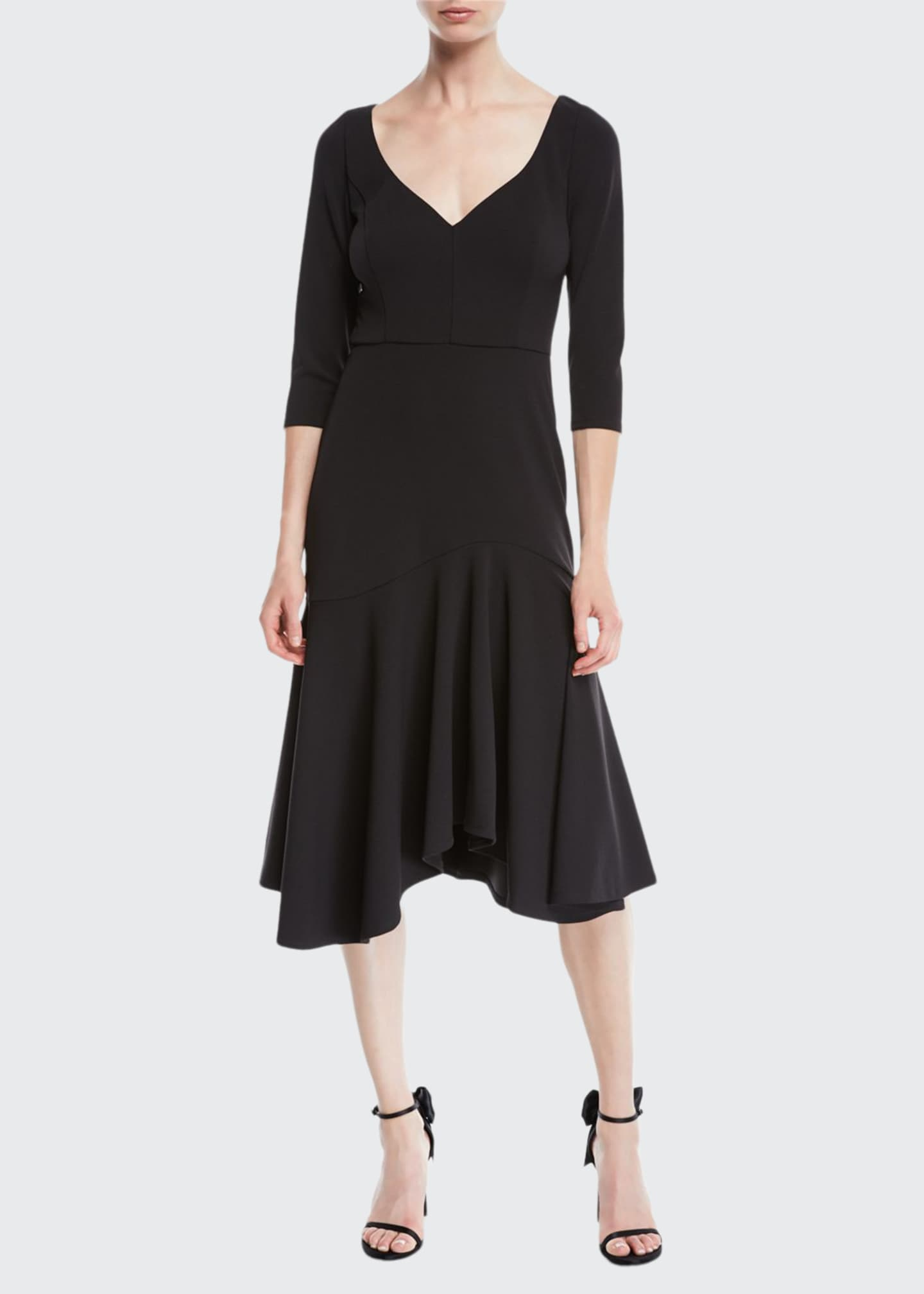 Image 1 of 2: V-Neck Midi Dress w/ Flounce Skirt