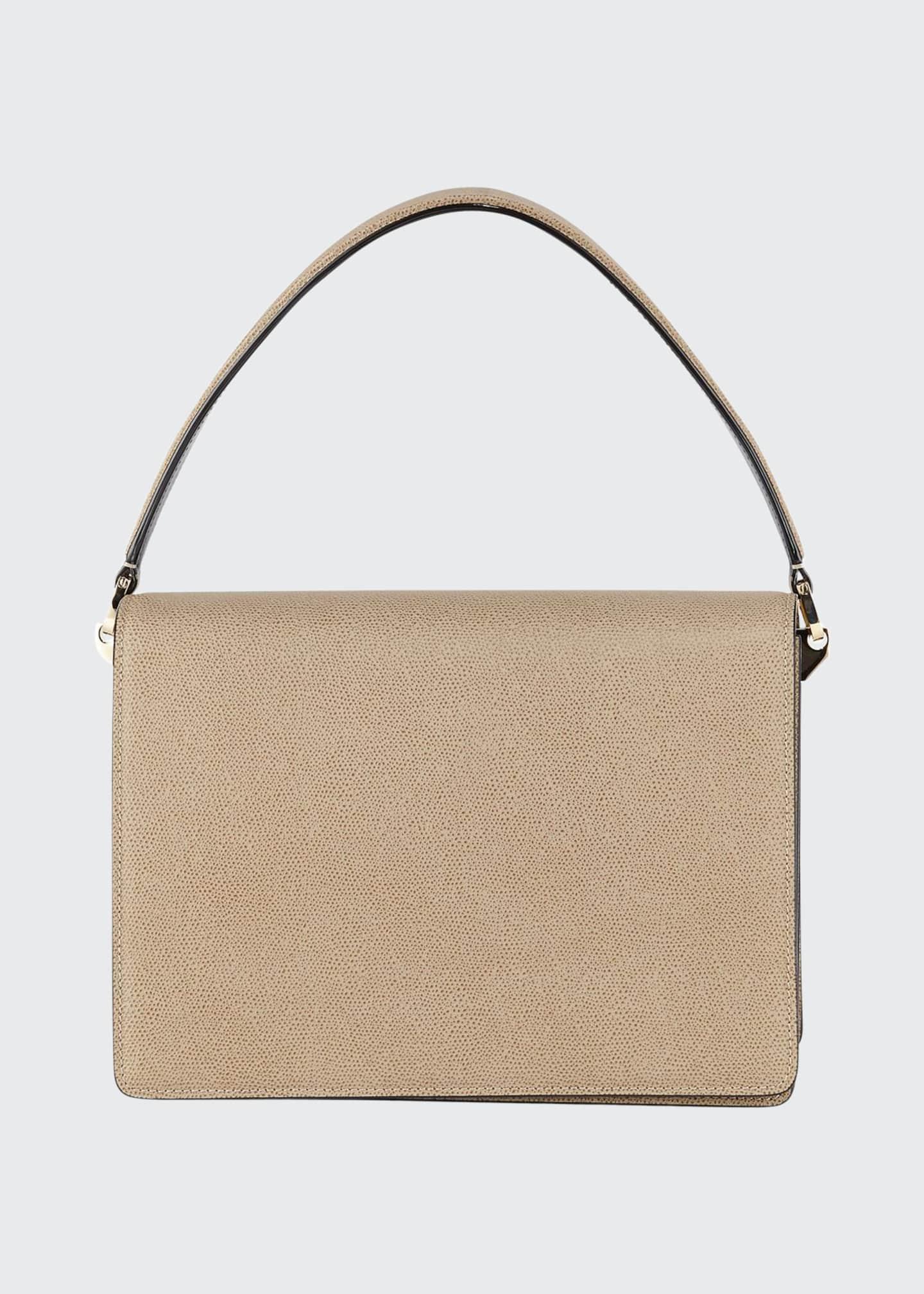 Valextra Twist Grained Leather Shoulder Bag