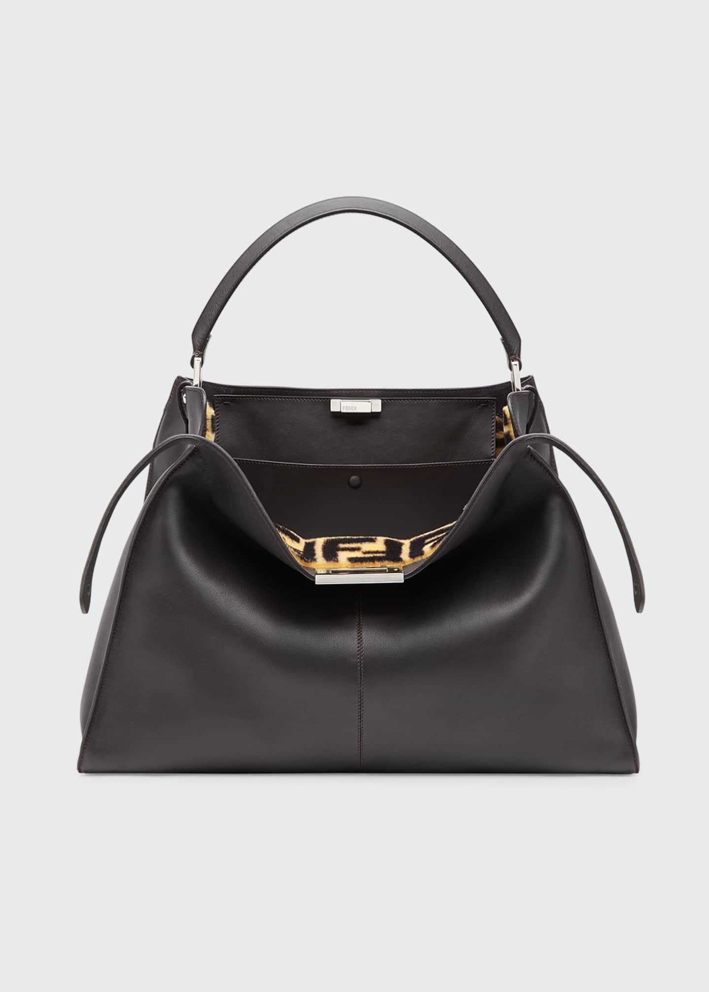 Fendi Peekaboo X-Lite Calf Satchel Bag with FF