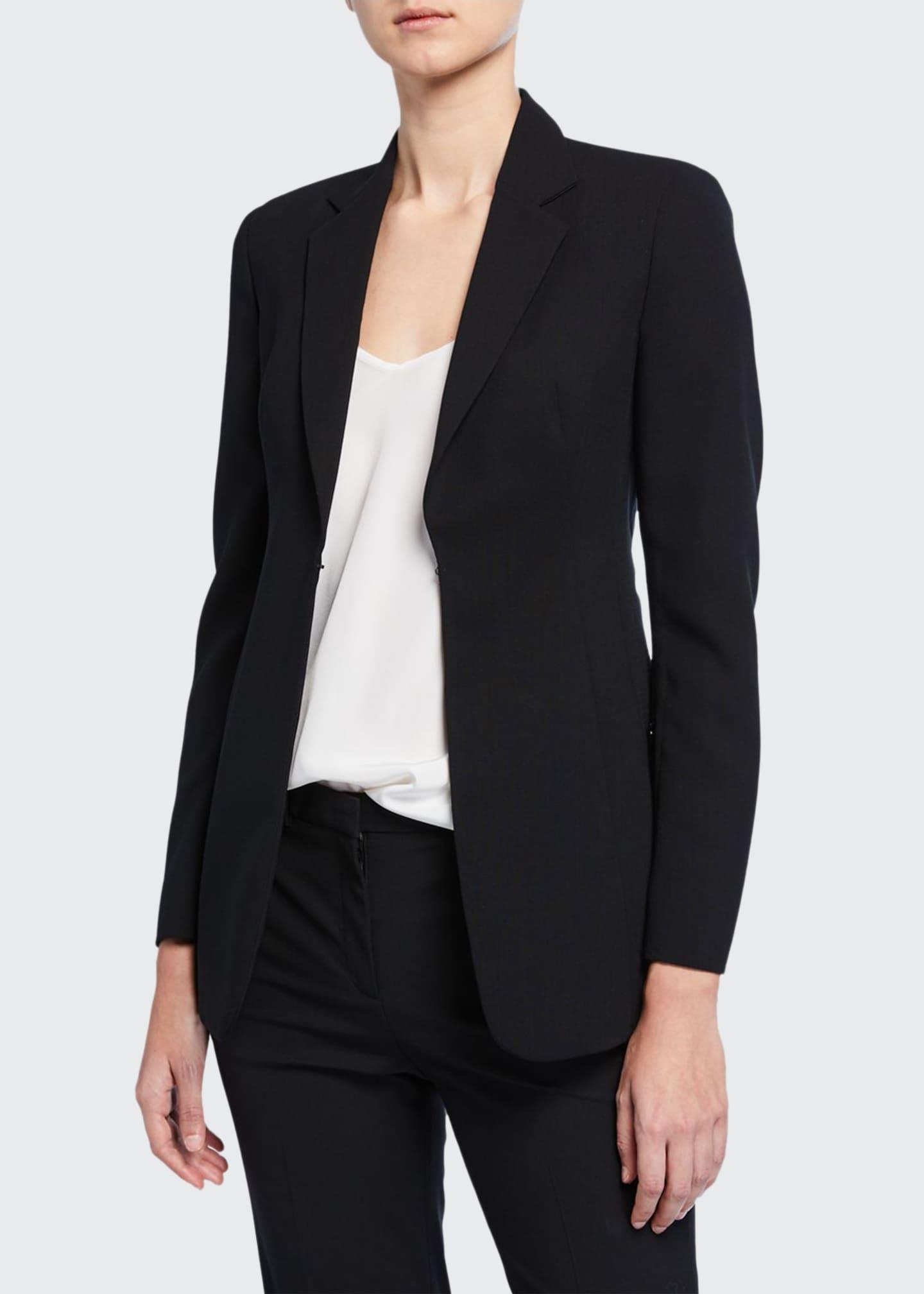 Akris Leather-Collar Wool Jacket