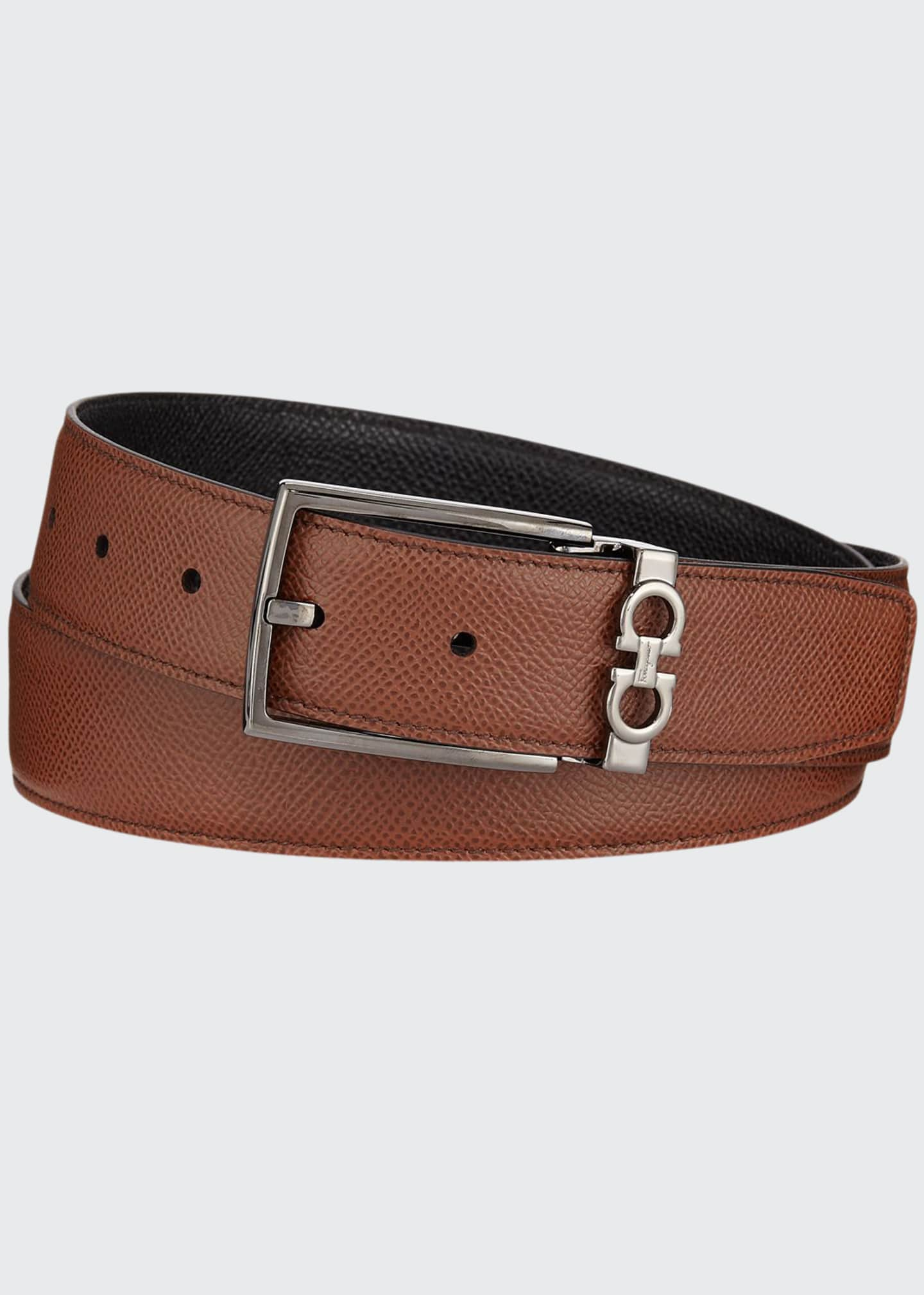 Image 1 of 1: Men's Textured Leather Belt with Gancini Detail