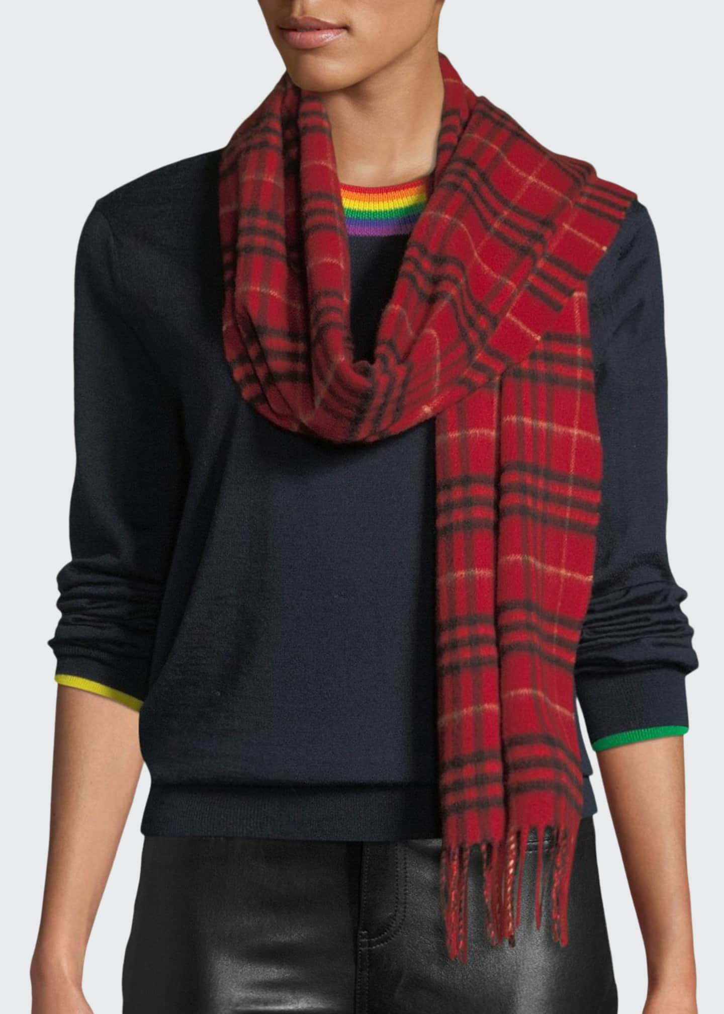 Image 1 of 3: Tonal Vintage Check Cashmere Scarf